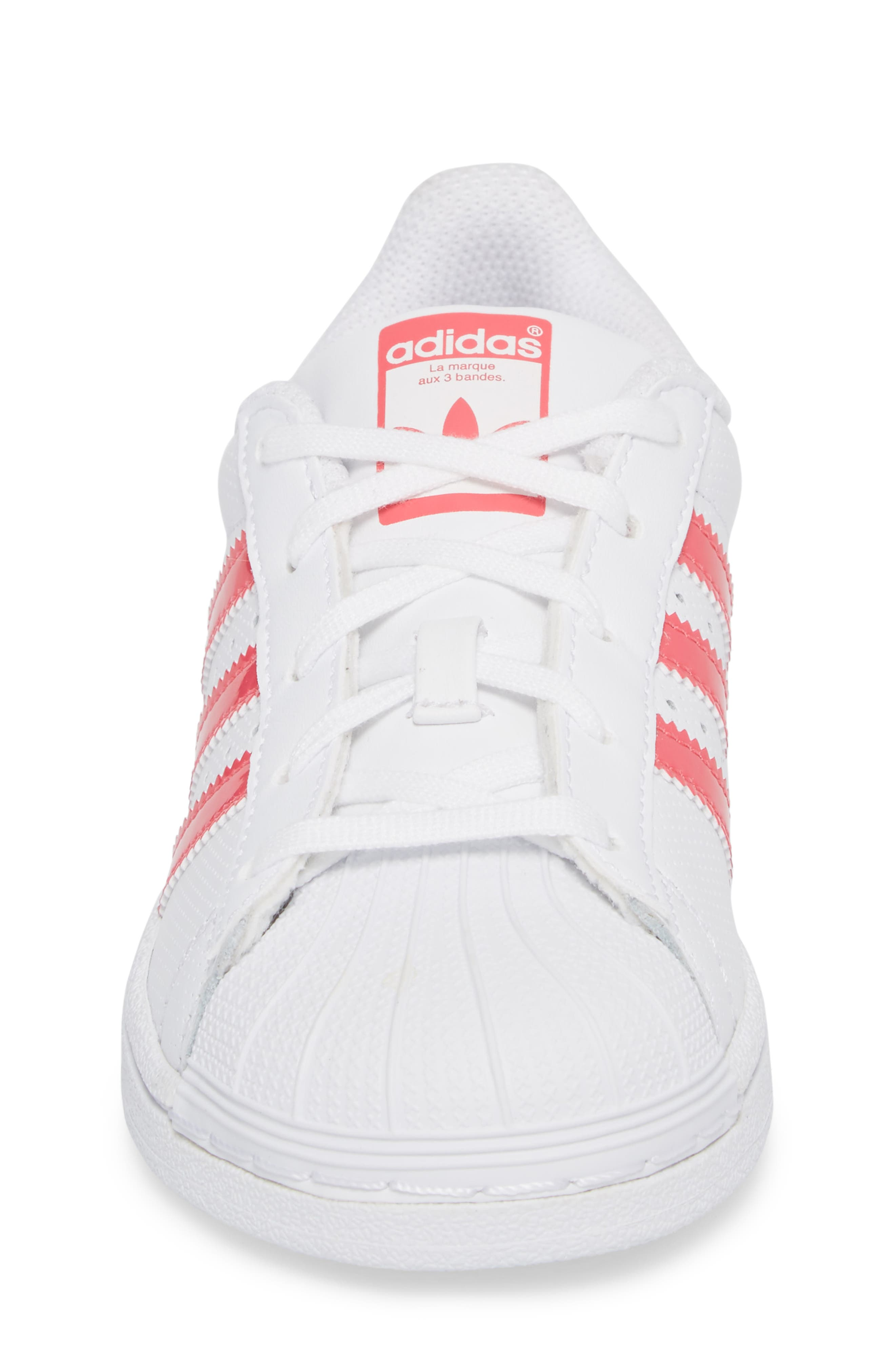 Superstar Perforated Low Top Sneaker,                             Alternate thumbnail 4, color,                             White / Real Pink / White