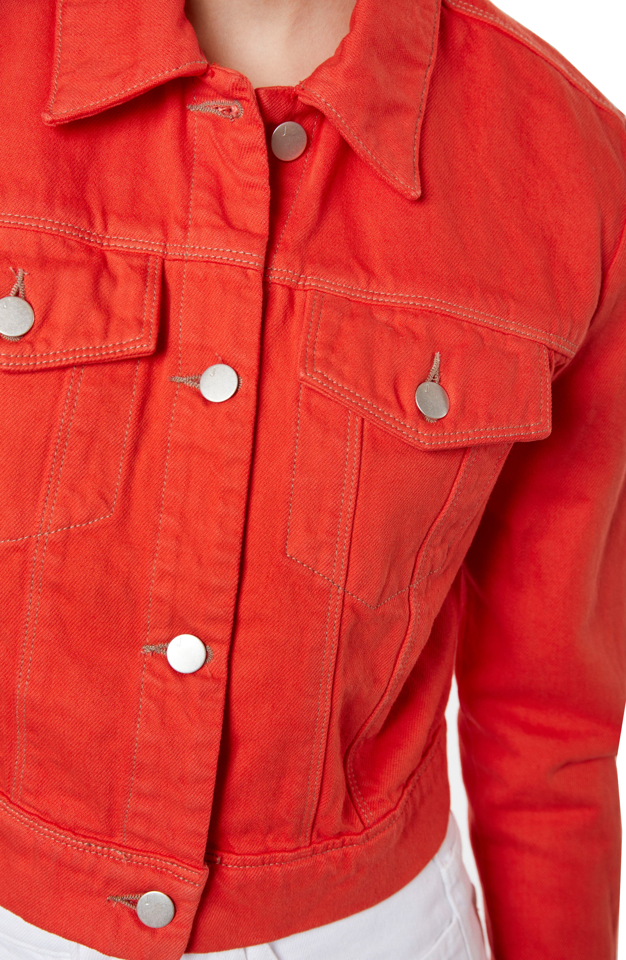 Faye Crop Denim Jacket,                             Alternate thumbnail 4, color,                             Bright Coral