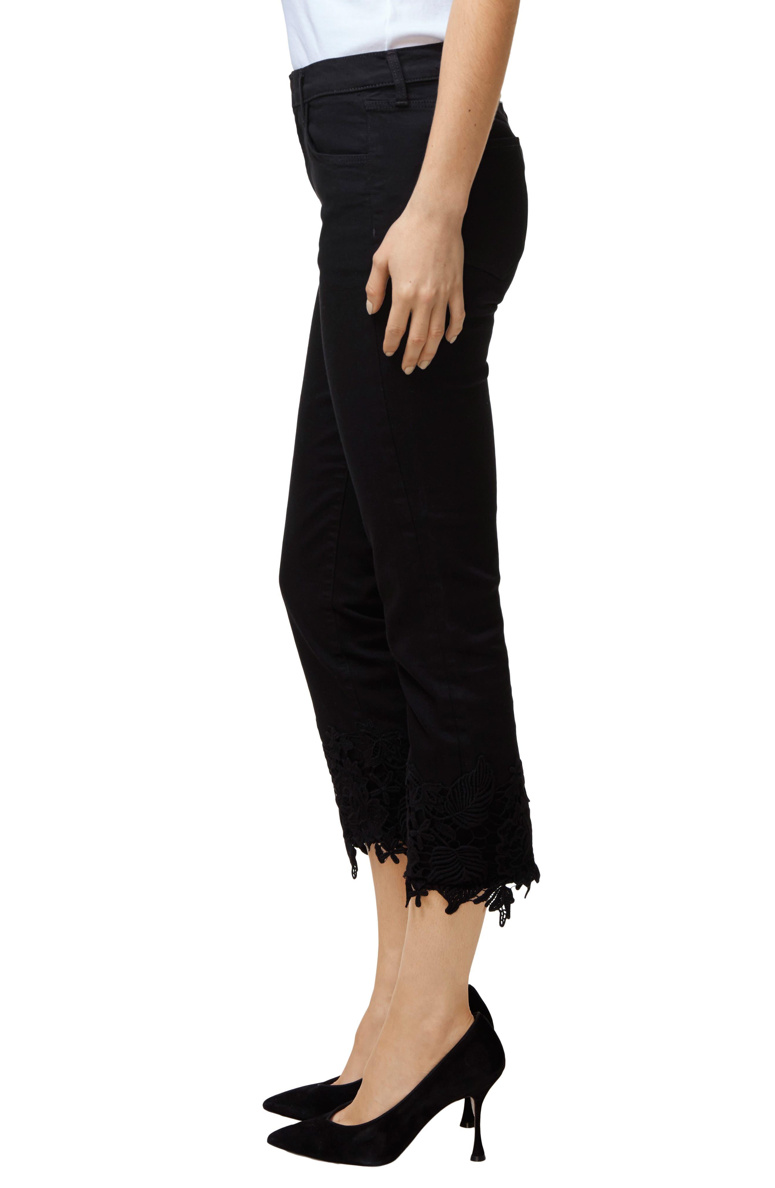 Ruby High Waist Crop Cigarette Jeans,                             Alternate thumbnail 3, color,                             Black Lace