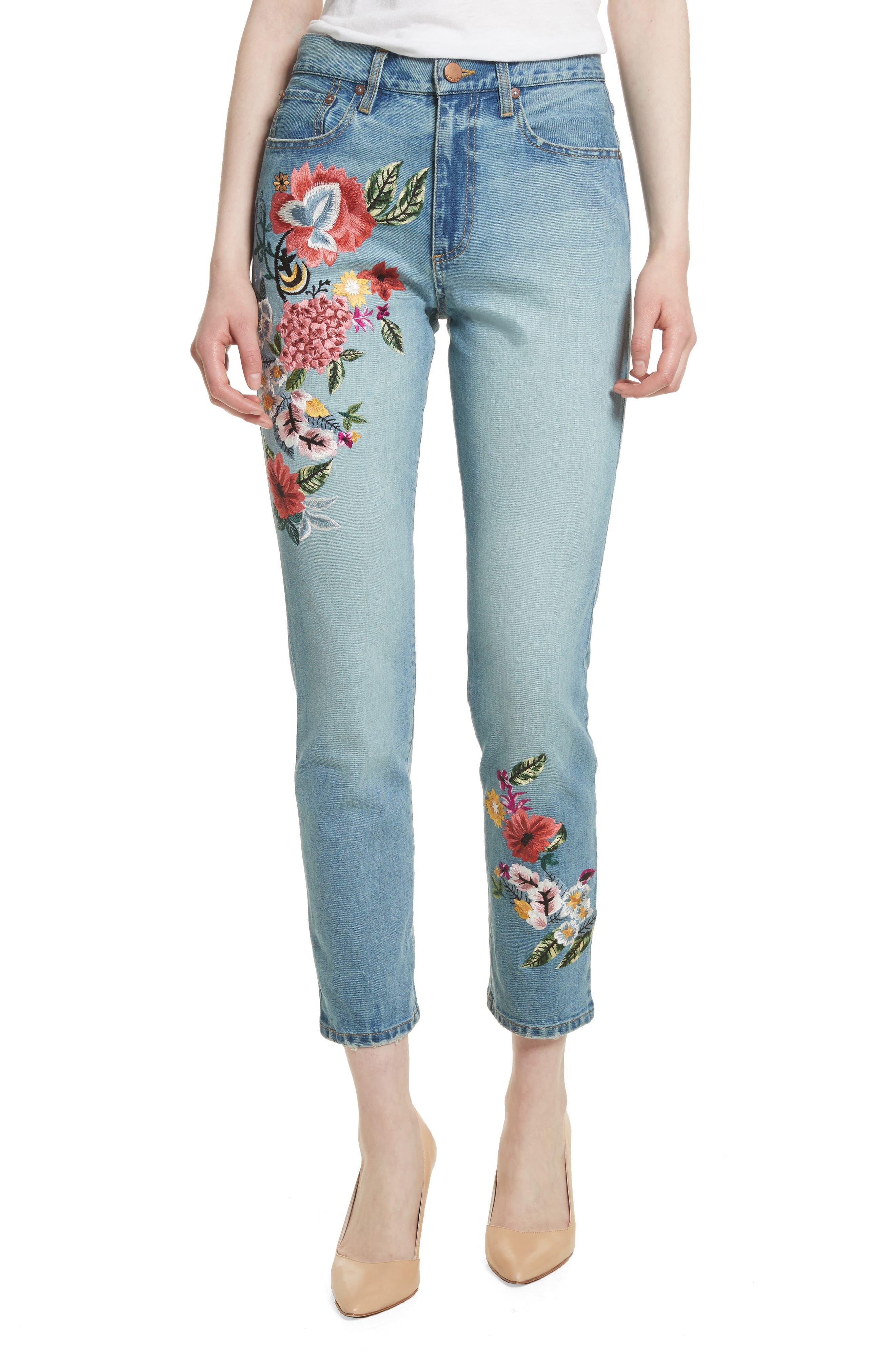 AO.LA Amazing Embroidered Slim Crop Jeans,                             Main thumbnail 1, color,                             Multi