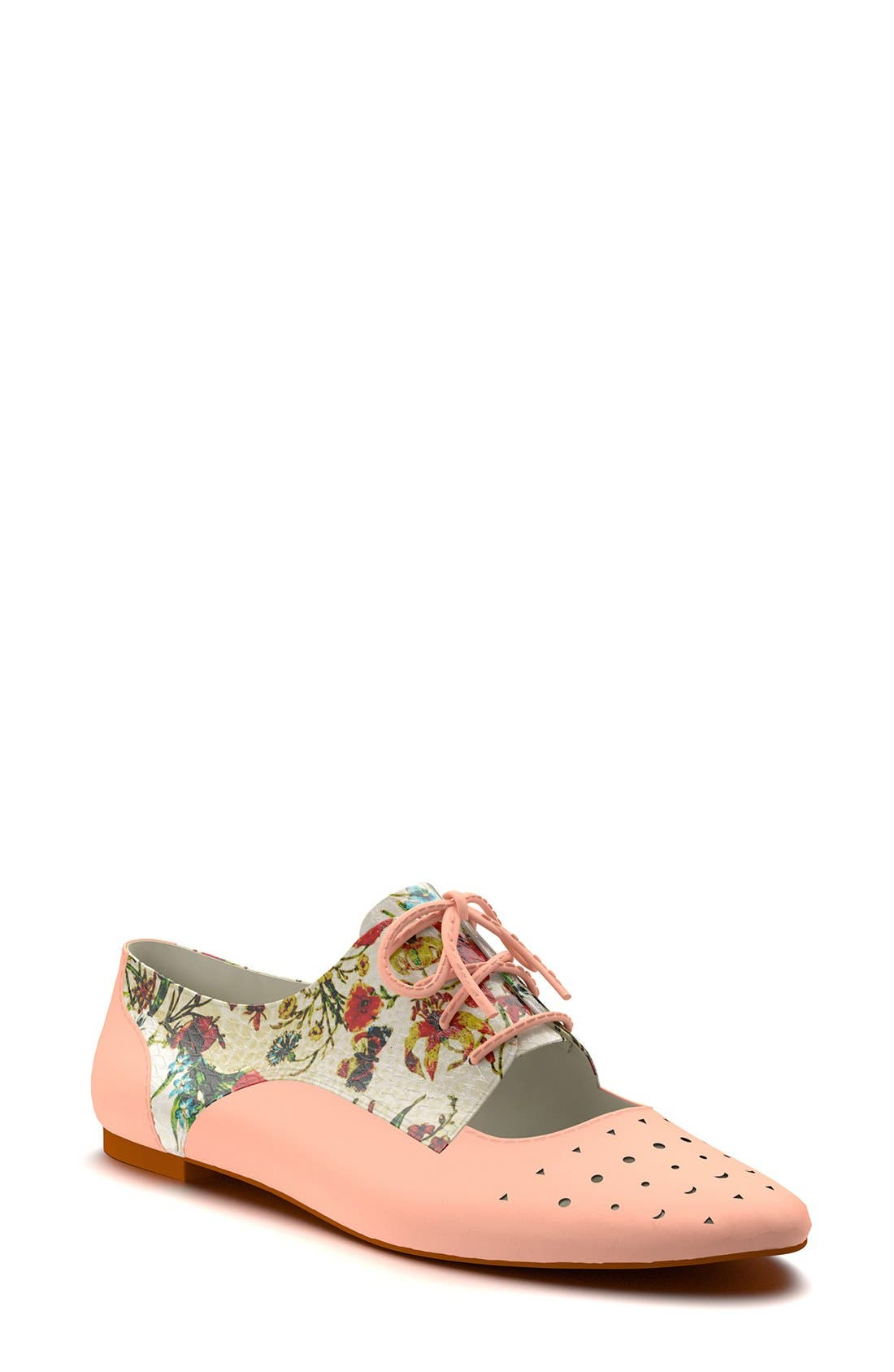 Main Image - Shoes of Prey Floral Print Cutout Oxford (Women)