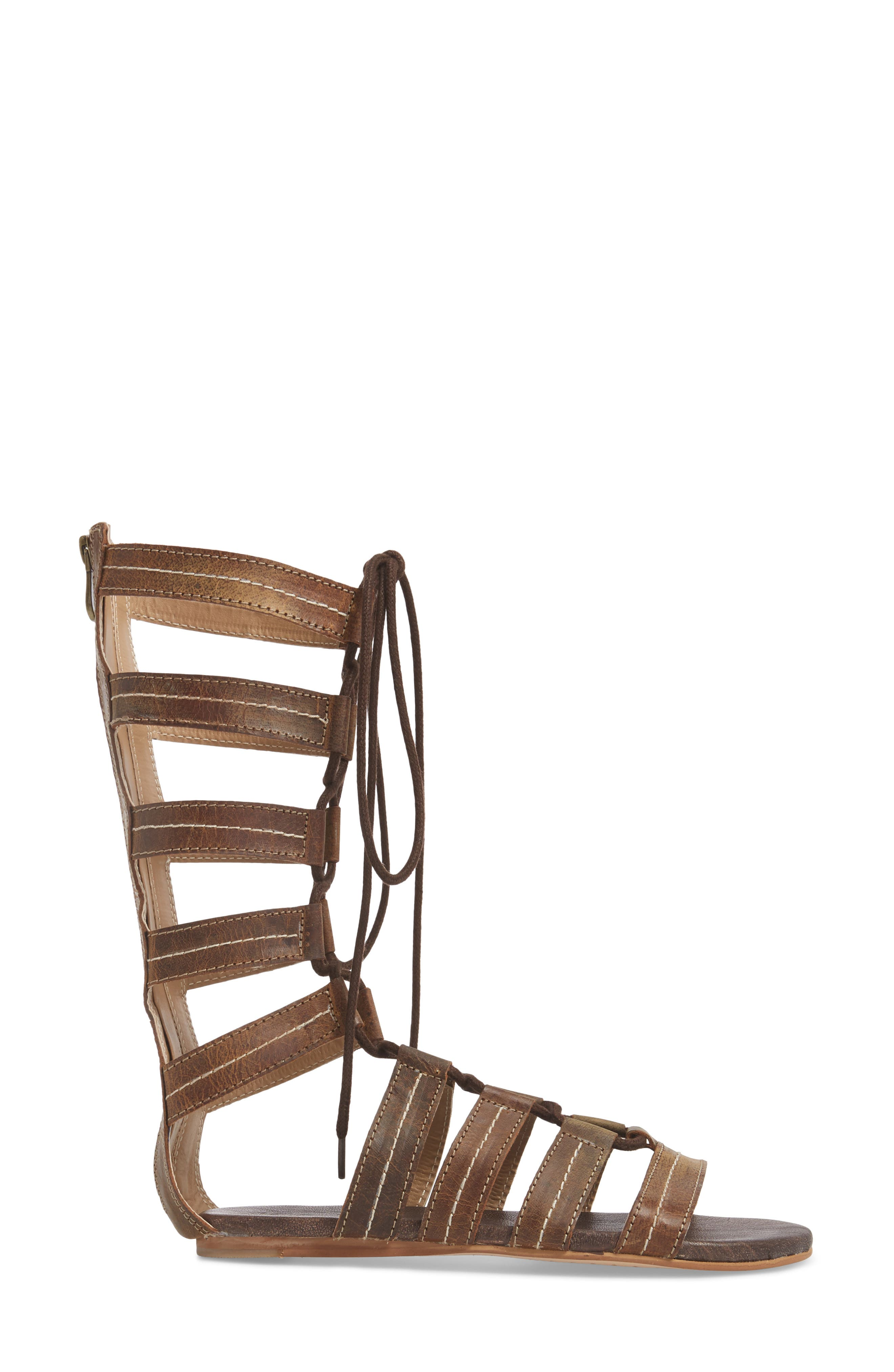 Rhea Lace-Up Gladiator Sandal,                             Alternate thumbnail 3, color,                             Tan Greenland