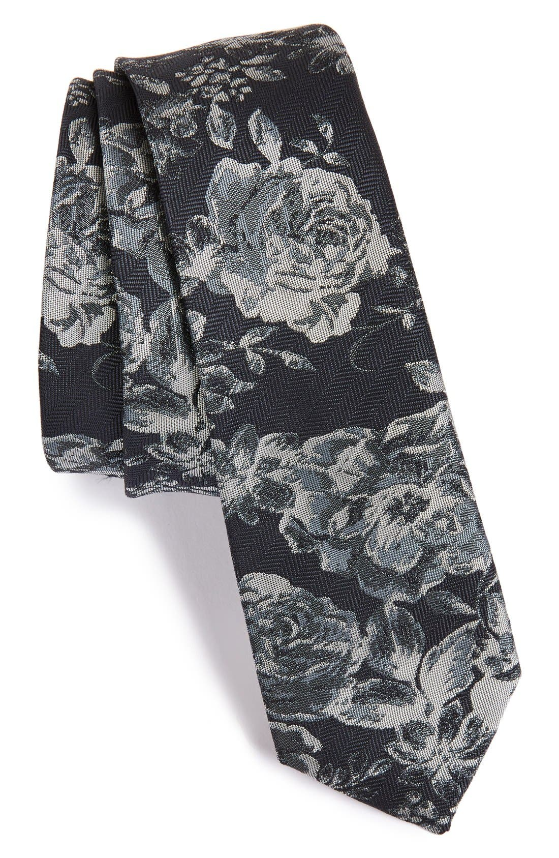 Main Image - Topman Slim Floral Woven Tie