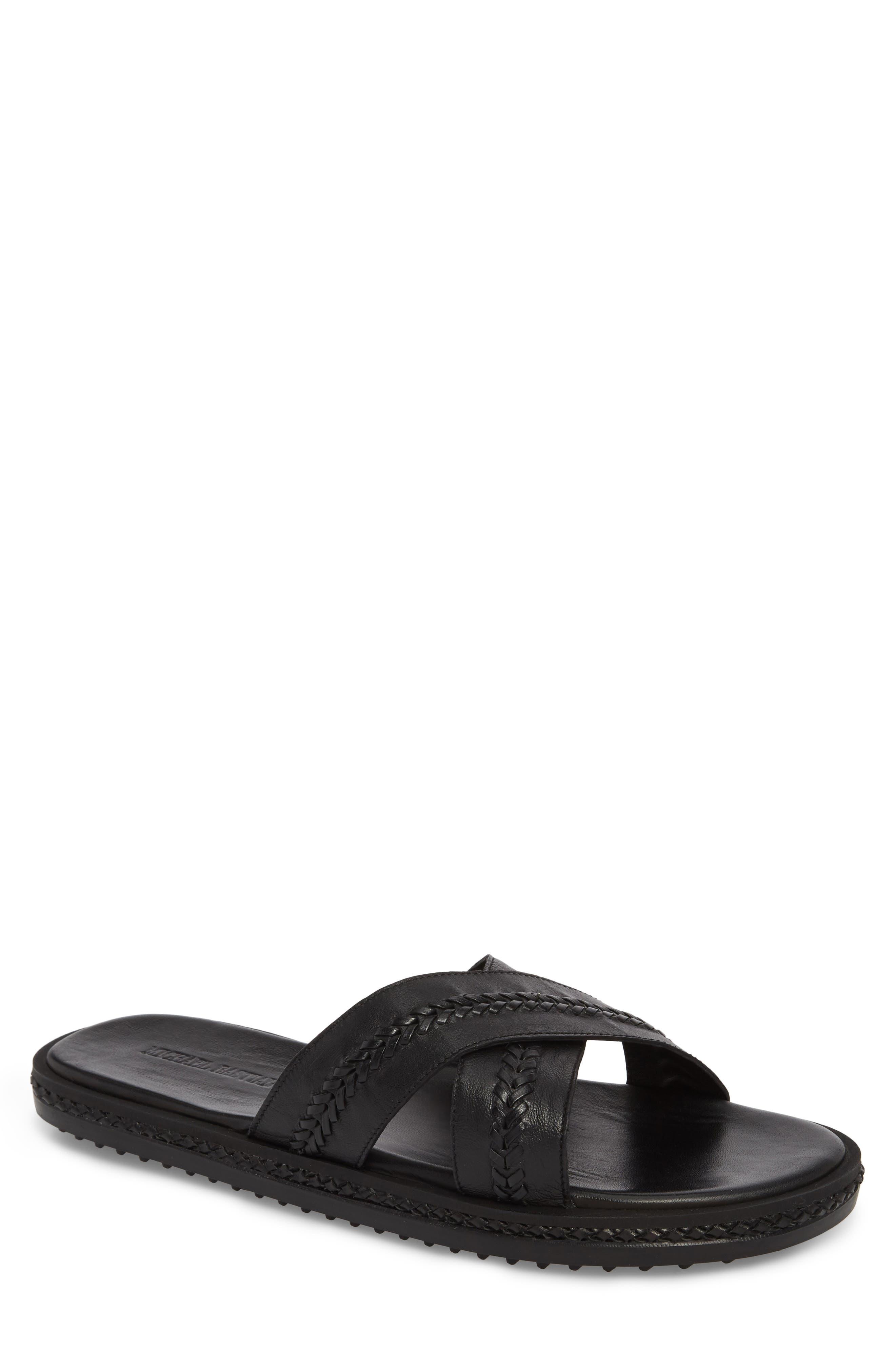 Woven Cross Strap Slide Sandal,                             Main thumbnail 1, color,                             Black Leather
