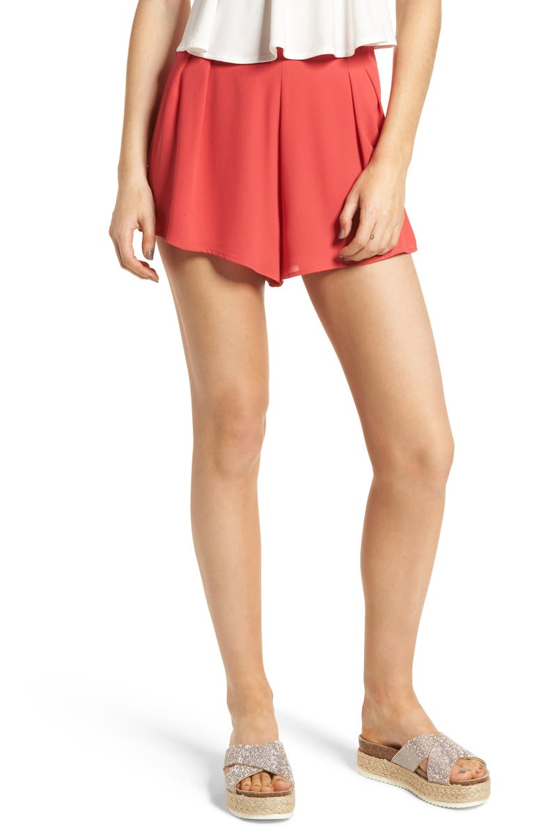 Pleat Front High Waist Shorts