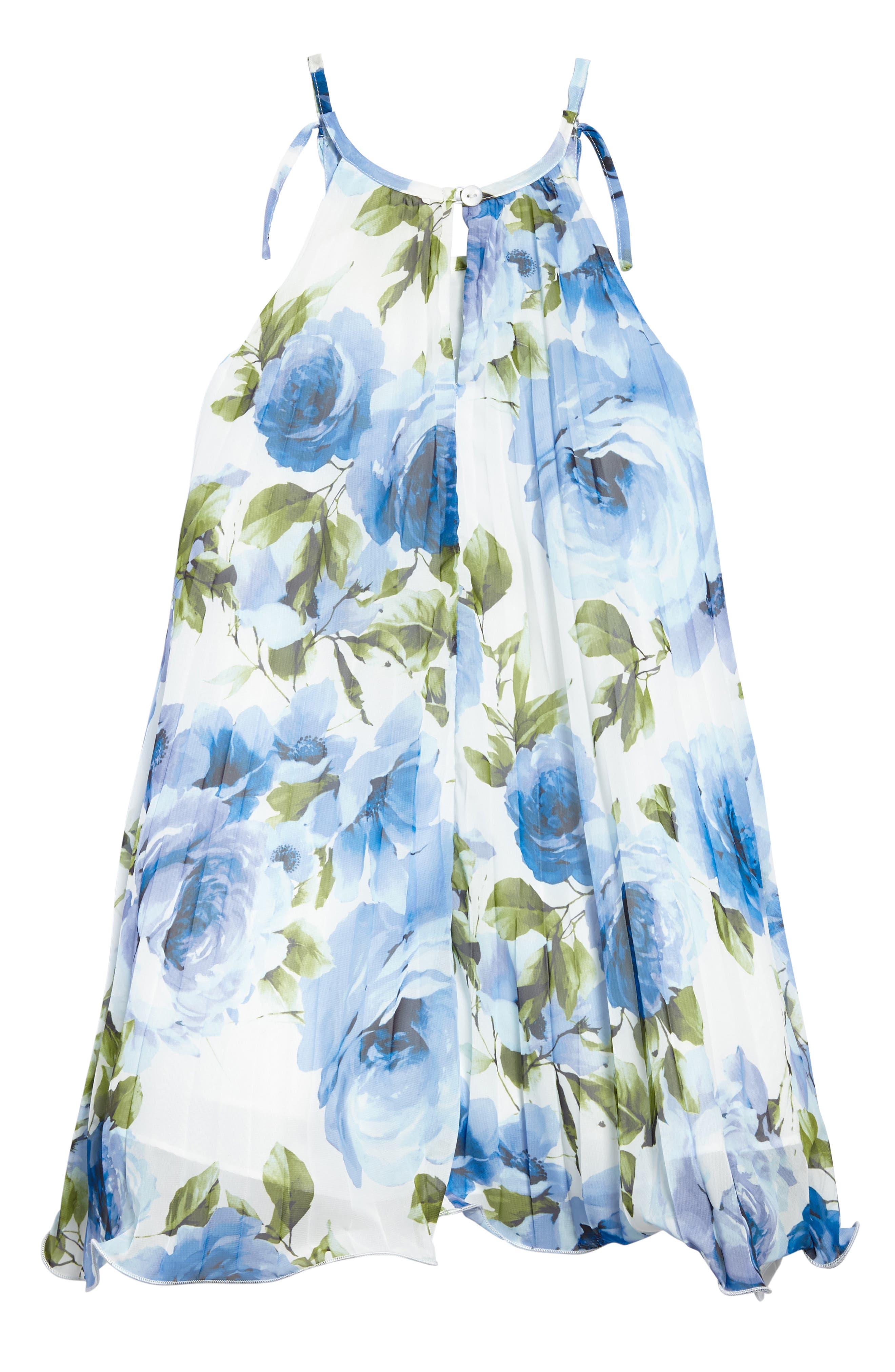 Crystal Pleat Floral Dress,                             Alternate thumbnail 2, color,                             Blue
