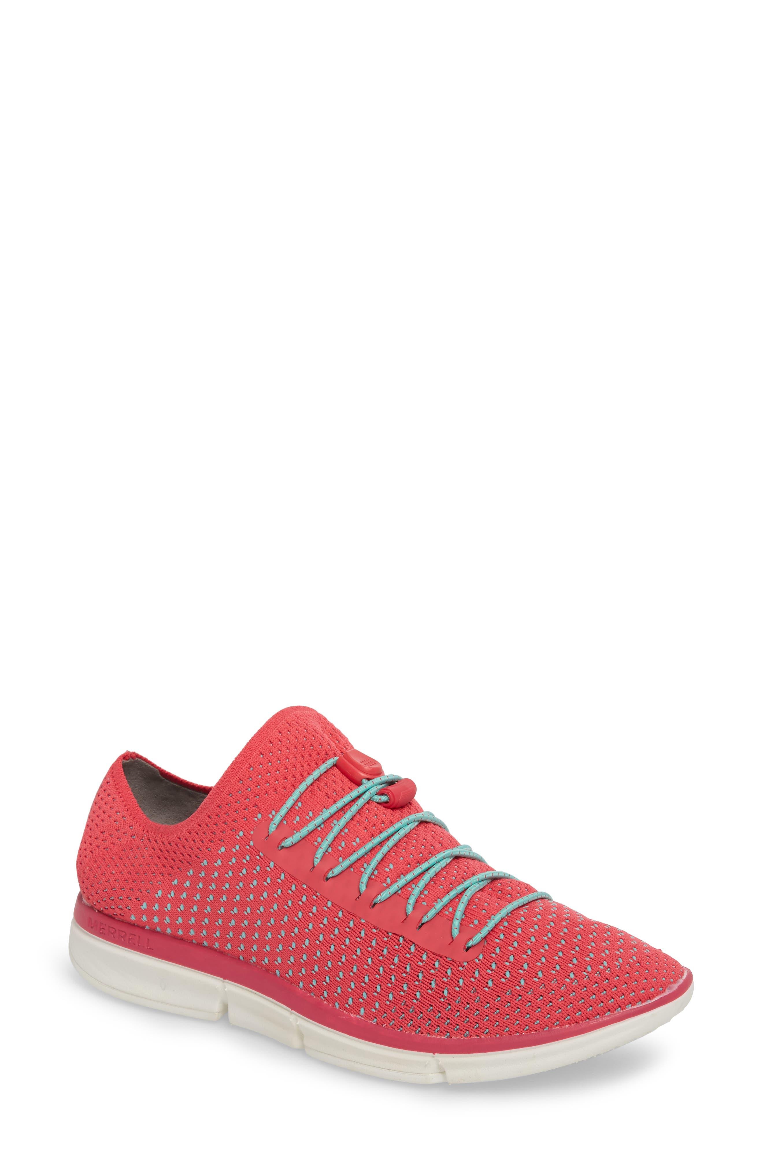 Zoe Sojourn Lace Knit Sneaker,                         Main,                         color, Azalea