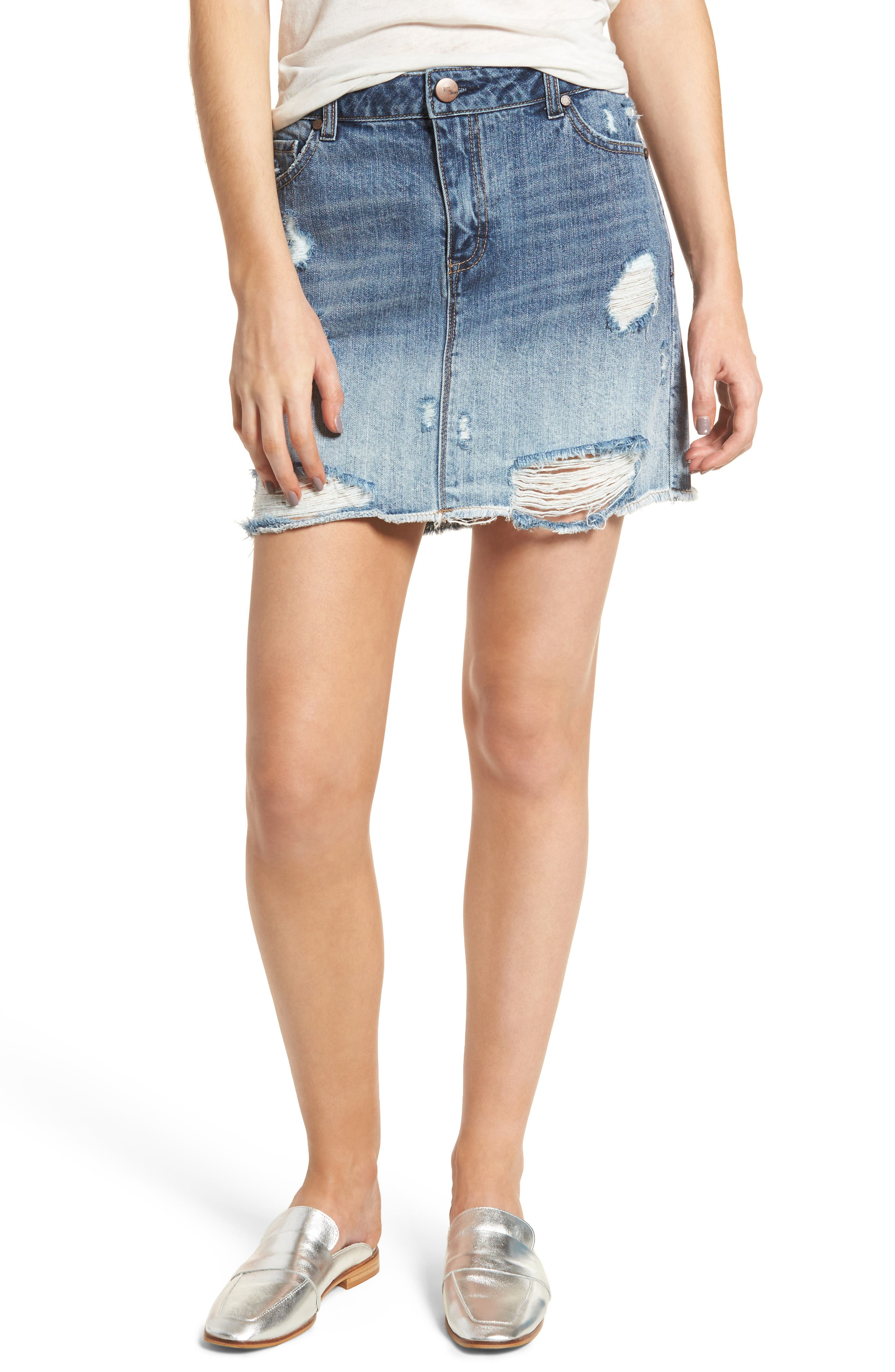 1822 Denim Ripped Denim Skirt (ACDC)