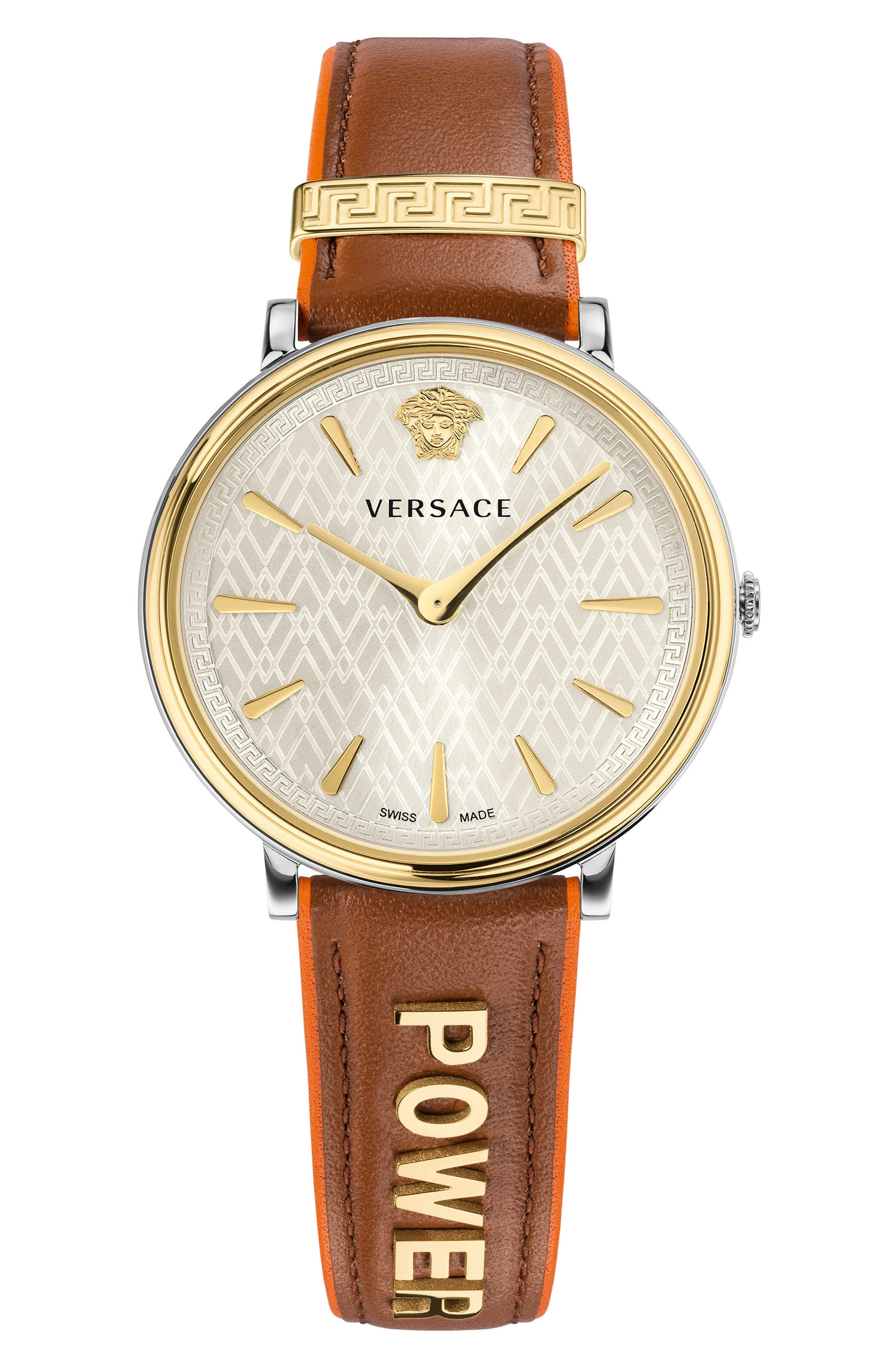 Manifesto Leather Strap Watch, 38mm,                             Main thumbnail 1, color,                             Brown/ White/ Gold