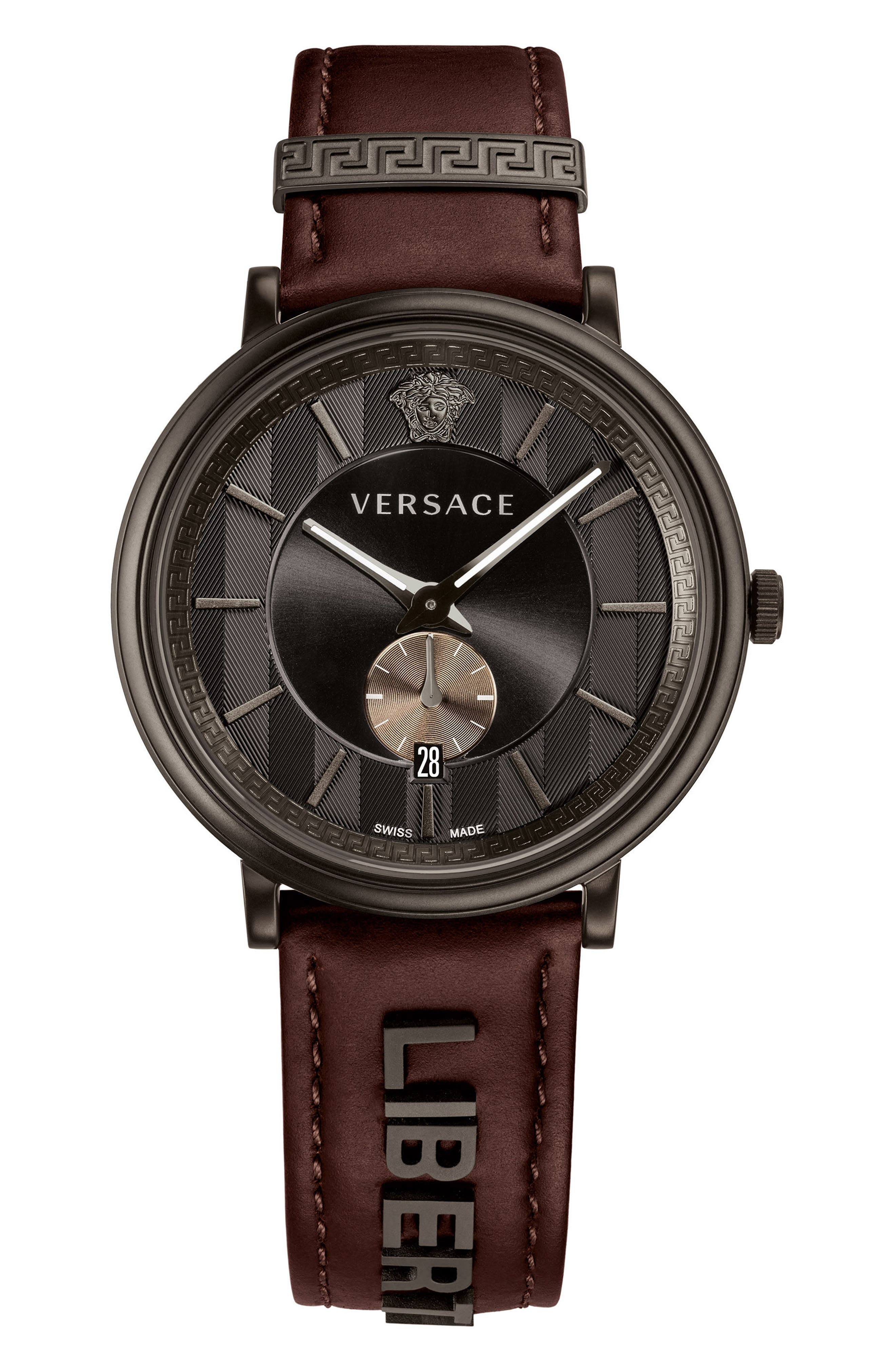 Manifesto Leather Strap Watch, 42mm,                         Main,                         color, Brown/ Black