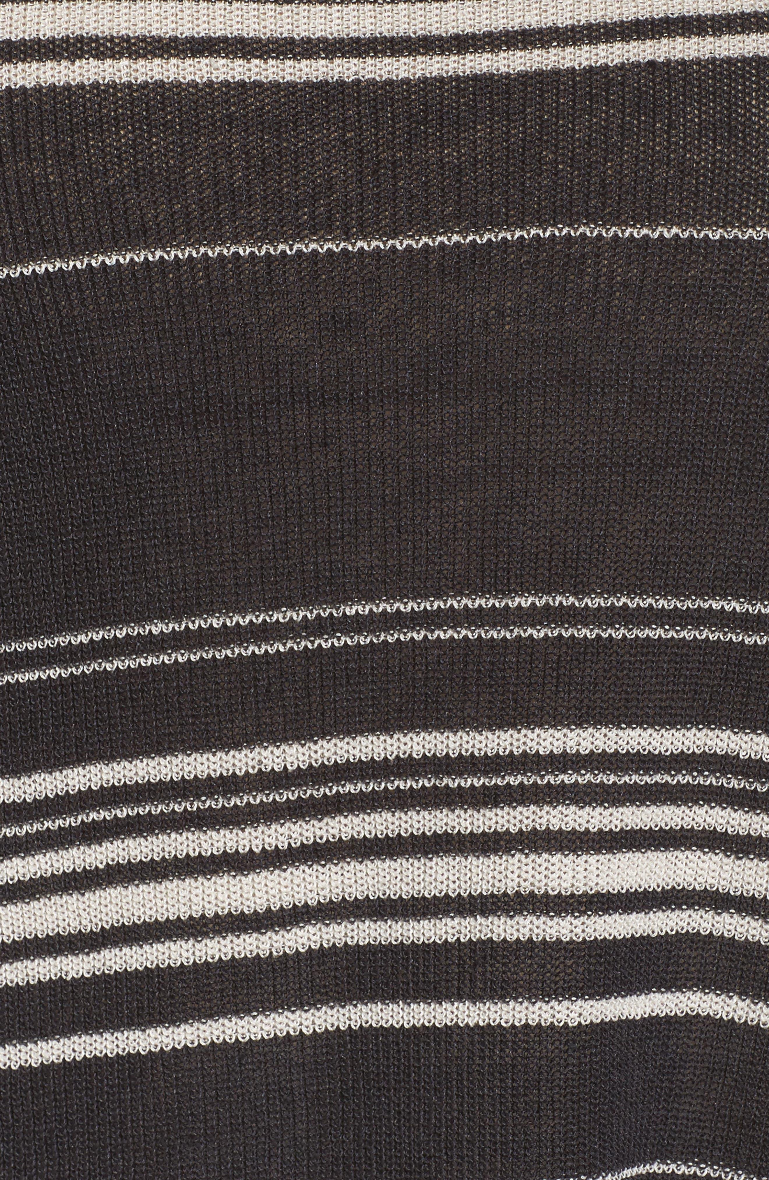Stripe Organic Linen Blend Poncho,                             Alternate thumbnail 6, color,                             Graphite/ Bone