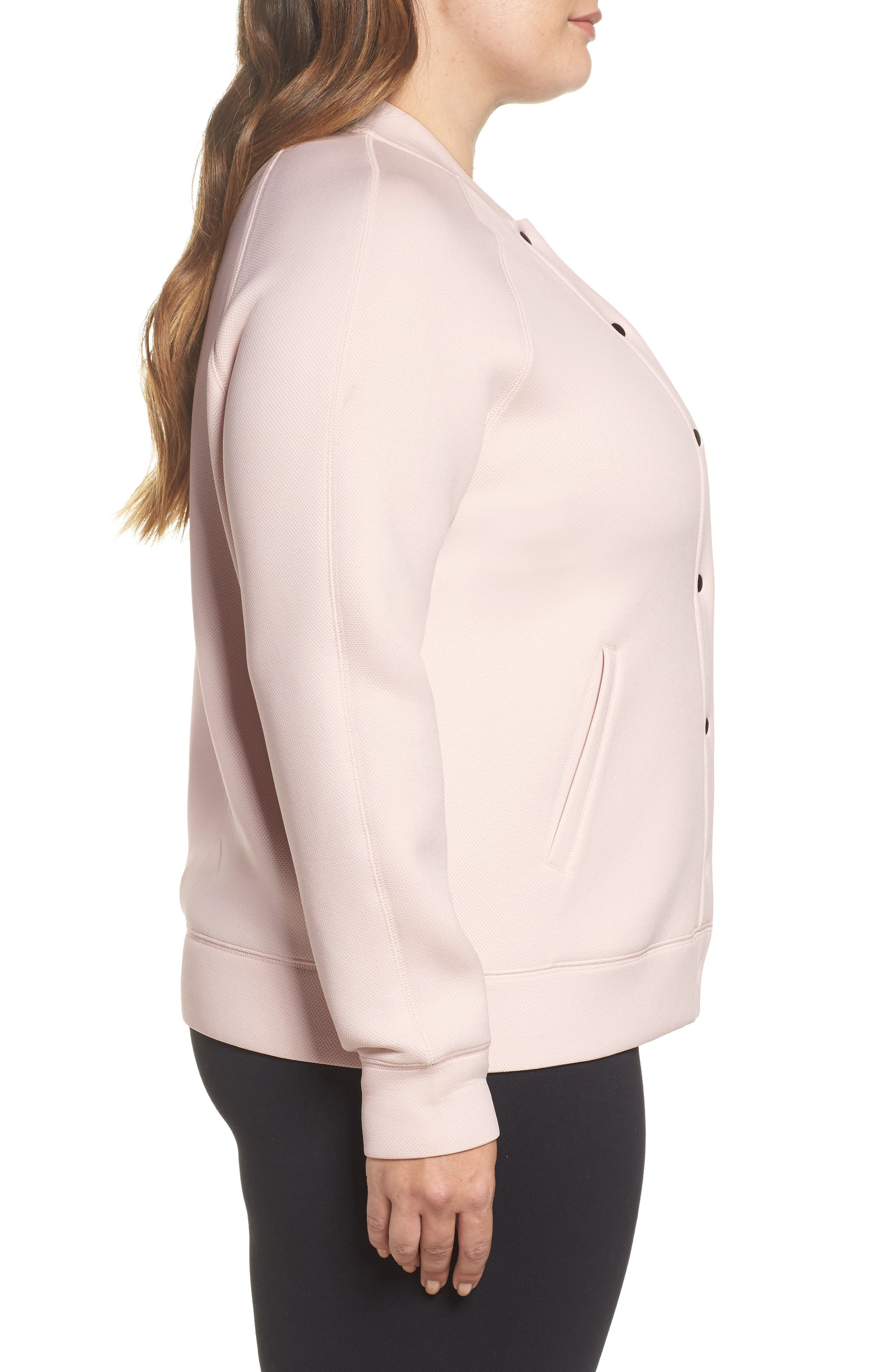 Arise Luxe Bomber Jacket,                             Alternate thumbnail 3, color,                             Pink Morganite