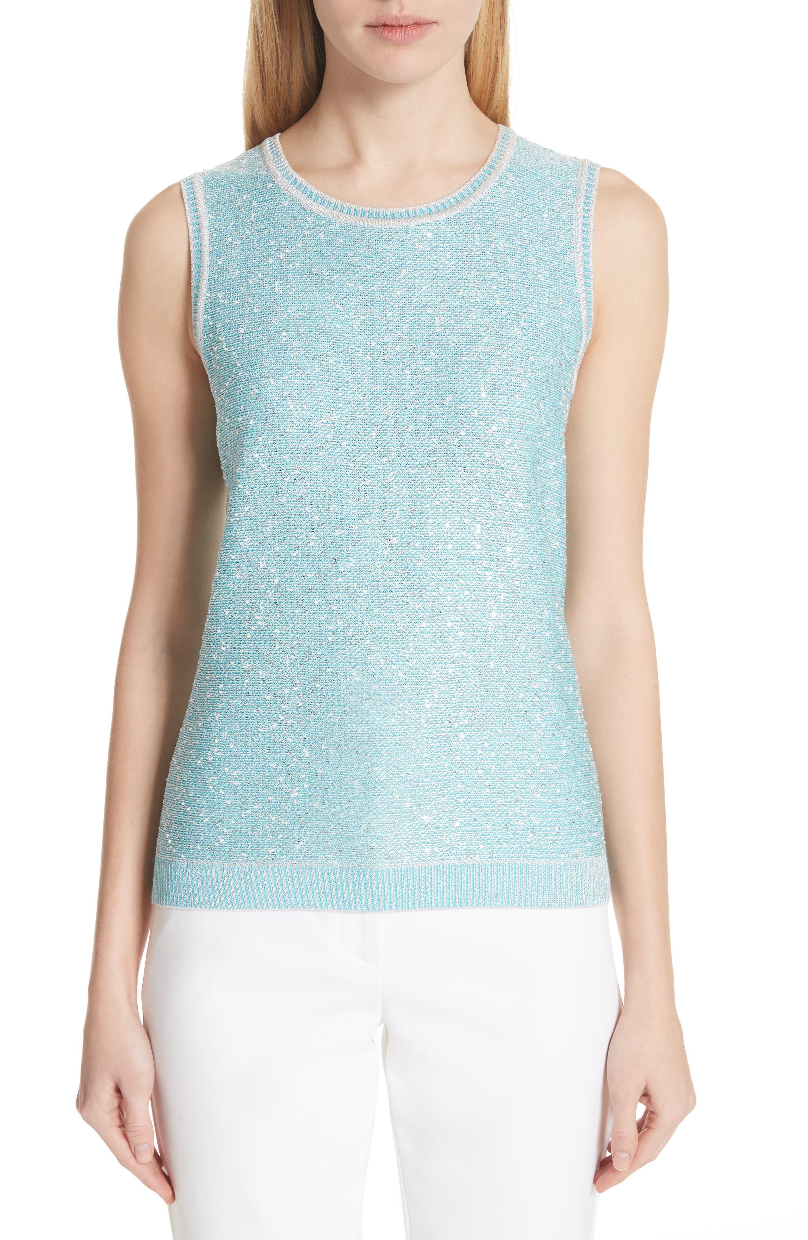 Flecked Sparkle Knit Shell,                             Main thumbnail 1, color,                             Aqua Multi