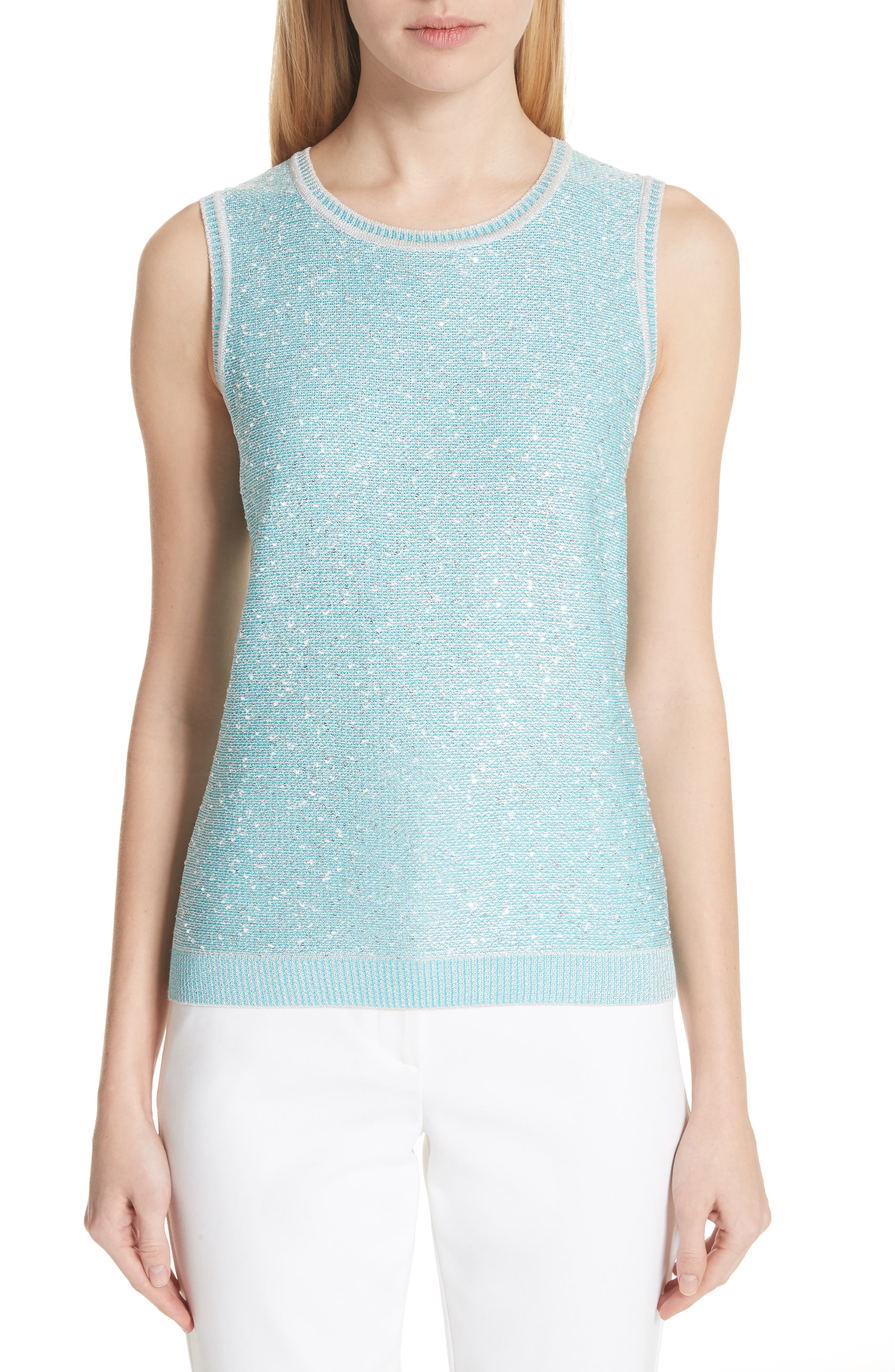 St. John Collection Flecked Sparkle Knit Shell