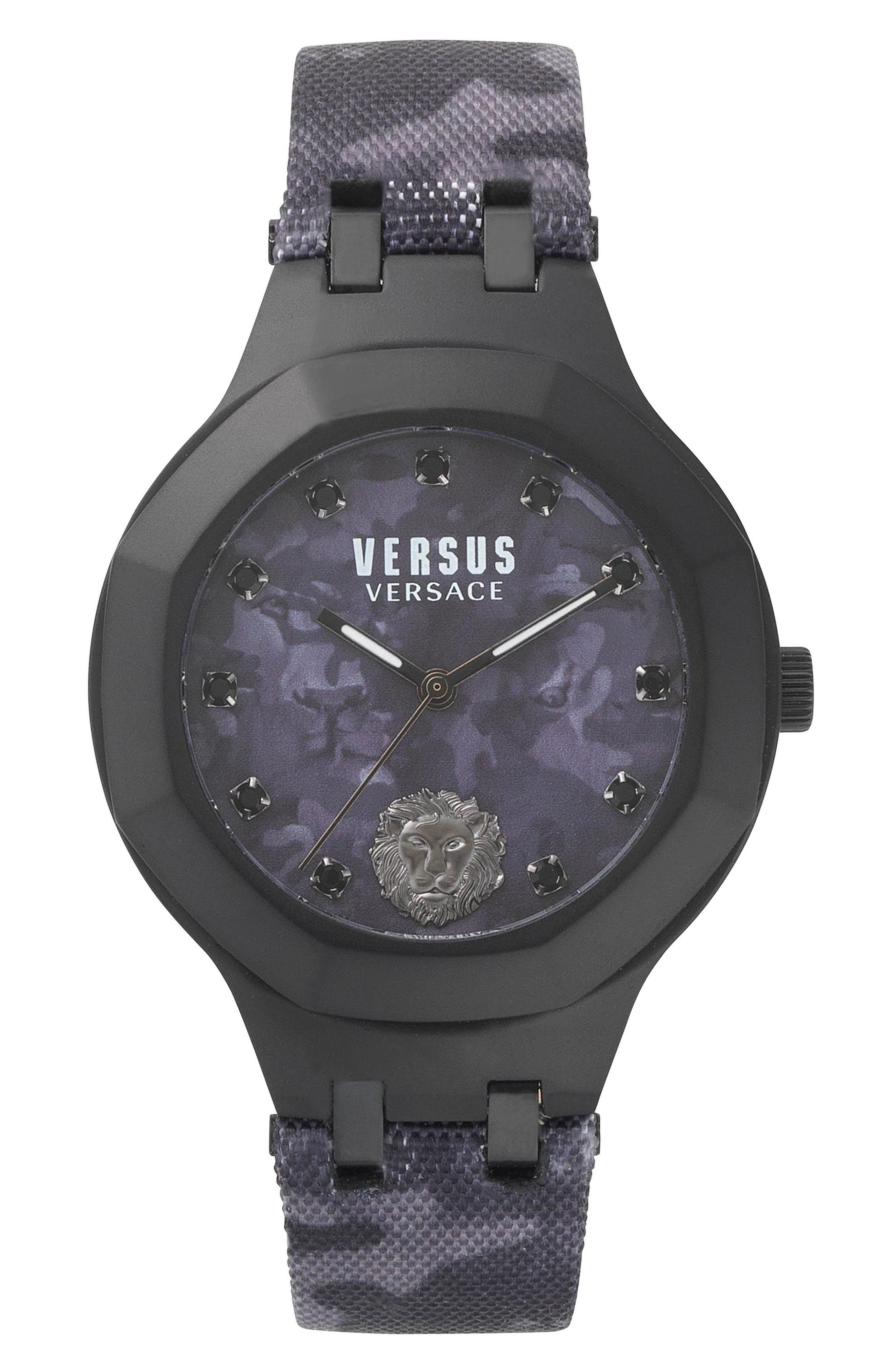 Versus by Versace Laguna City Leather Strap Watch, 40mm,                         Main,                         color, Black