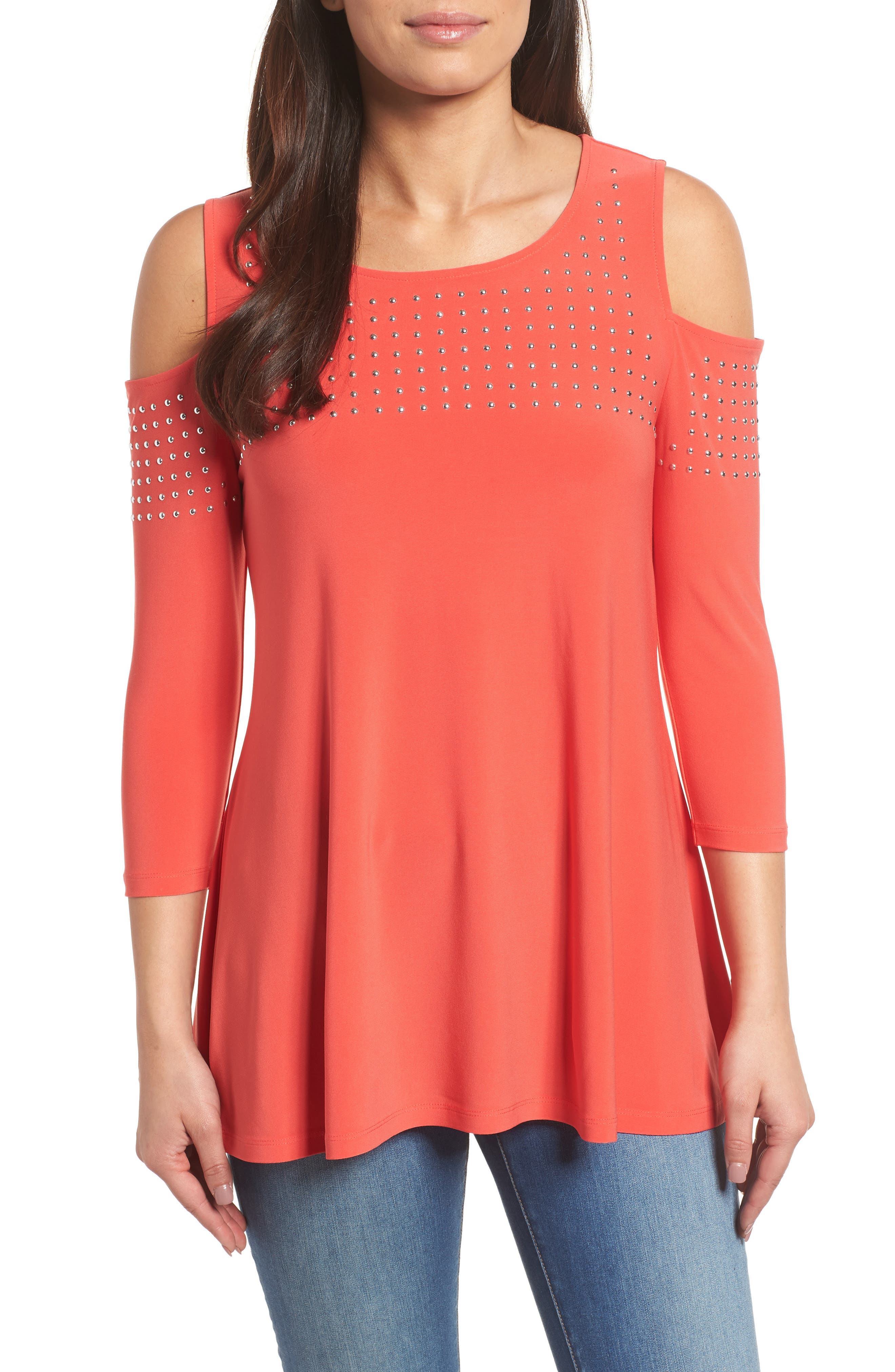 Chaus Riveted Cold Shoulder Top