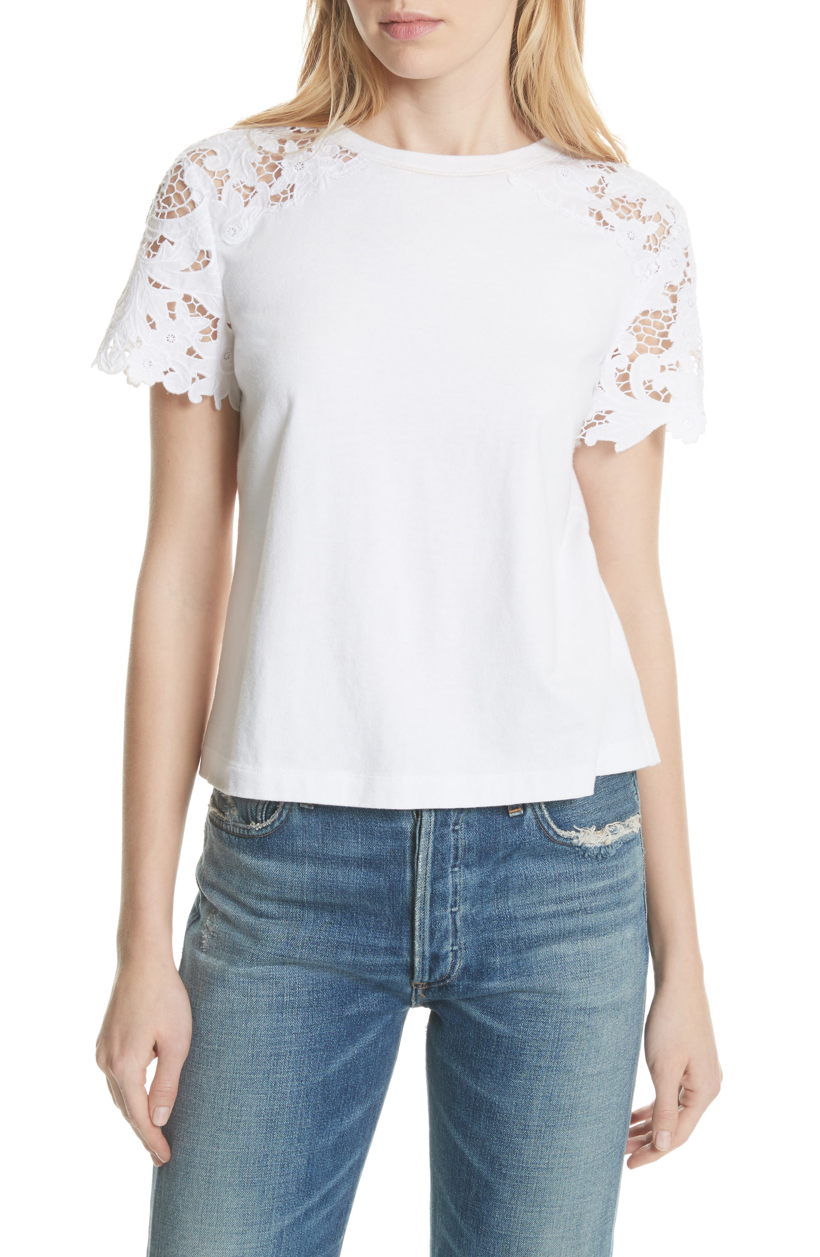 Lace Detail Tee,                         Main,                         color, Milk