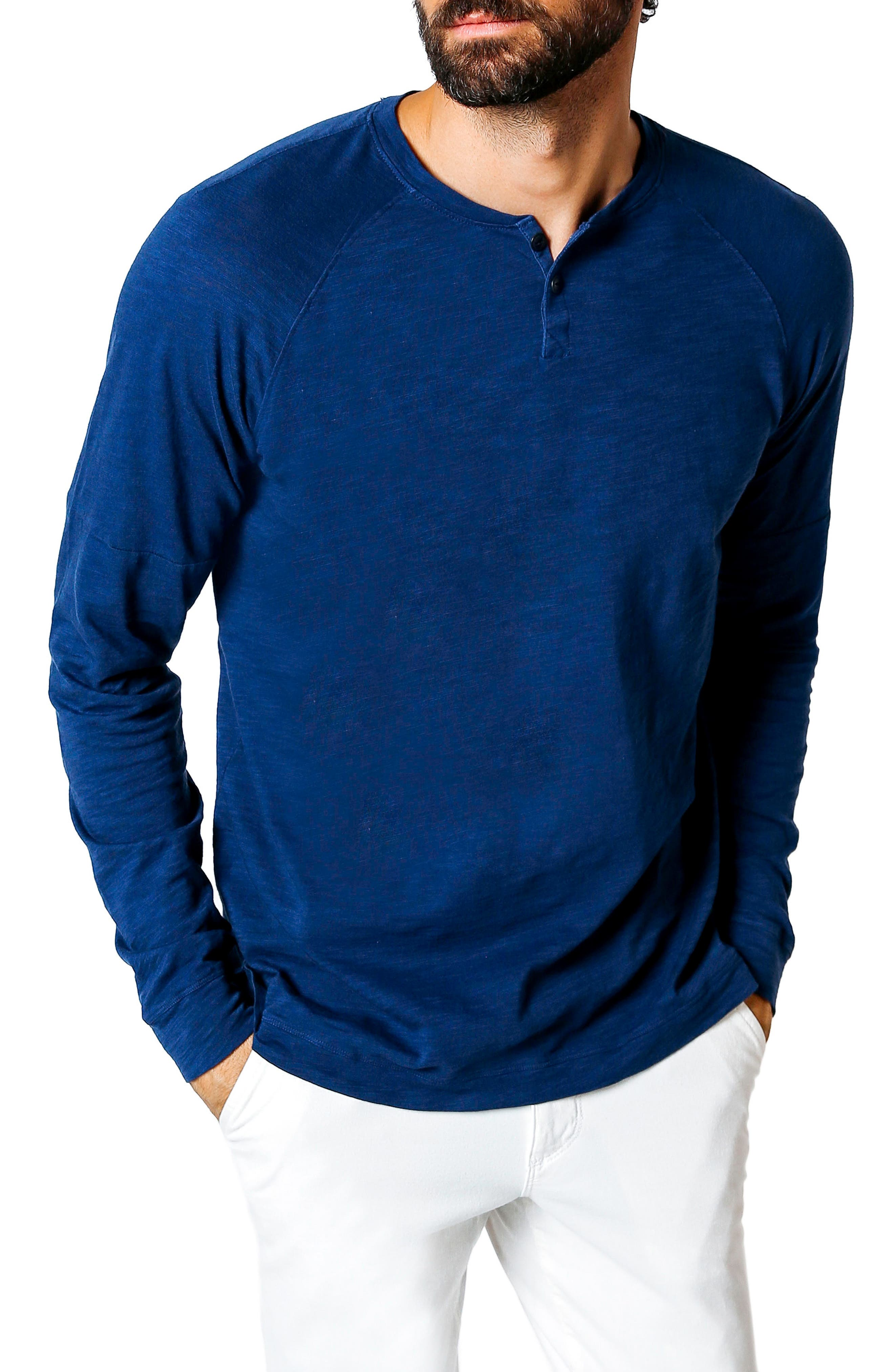 Athletic Slim Fit Henley,                         Main,                         color, Blue