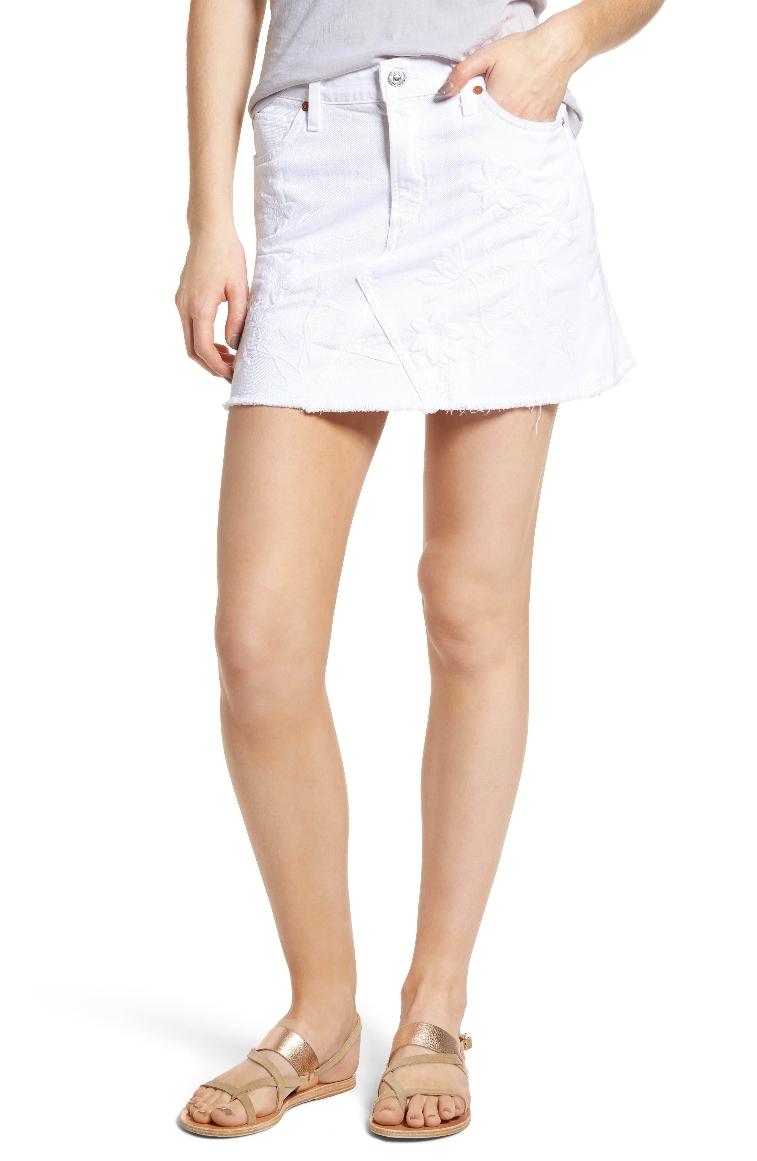 Cutoff Denim Miniskirt,                         Main,                         color, Distressed White