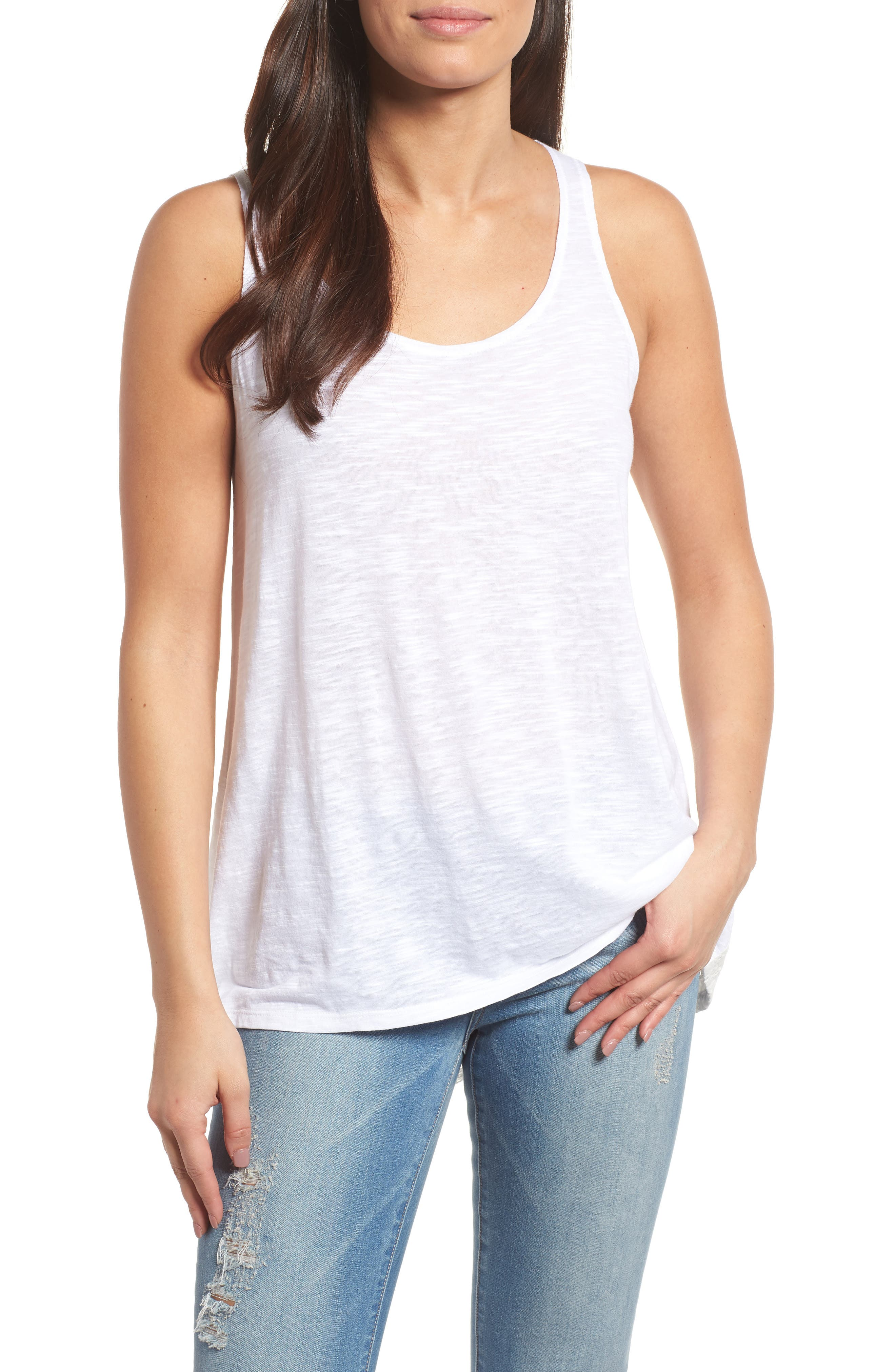 Caslon® Lace Hem Tank (Regular & Petite)