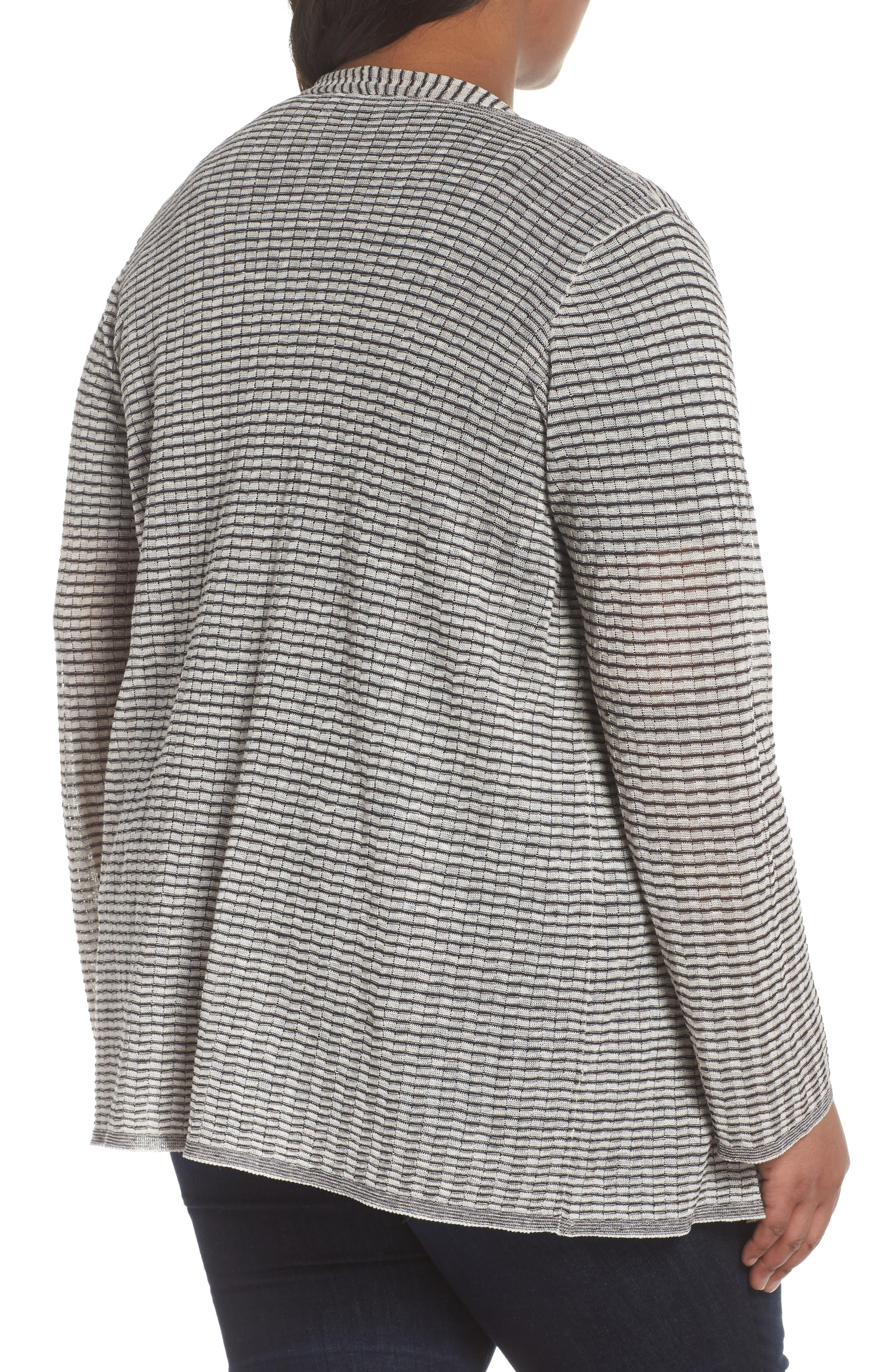 Simple Stripe Linen Blend Cardigan,                             Alternate thumbnail 2, color,                             Graphite/ Bone