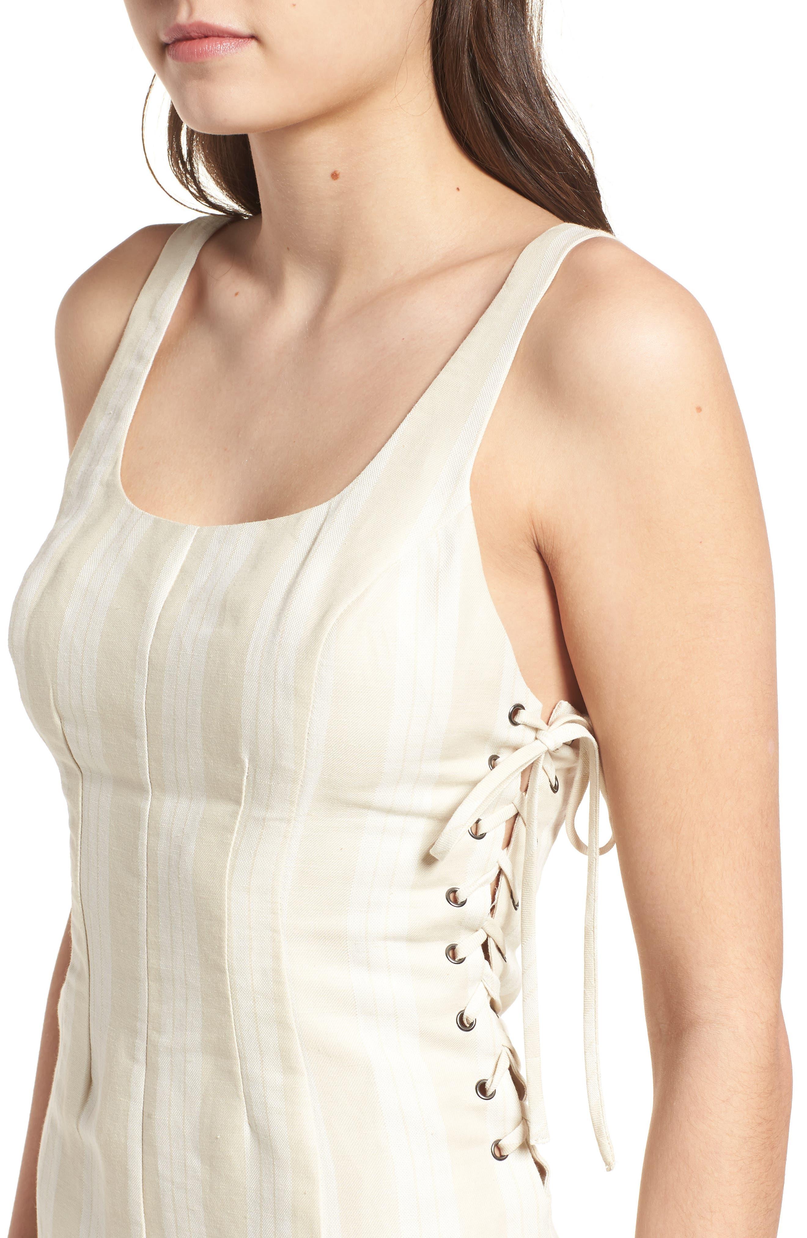 Elena Lace Side Dress,                             Alternate thumbnail 4, color,                             Natural Stripe