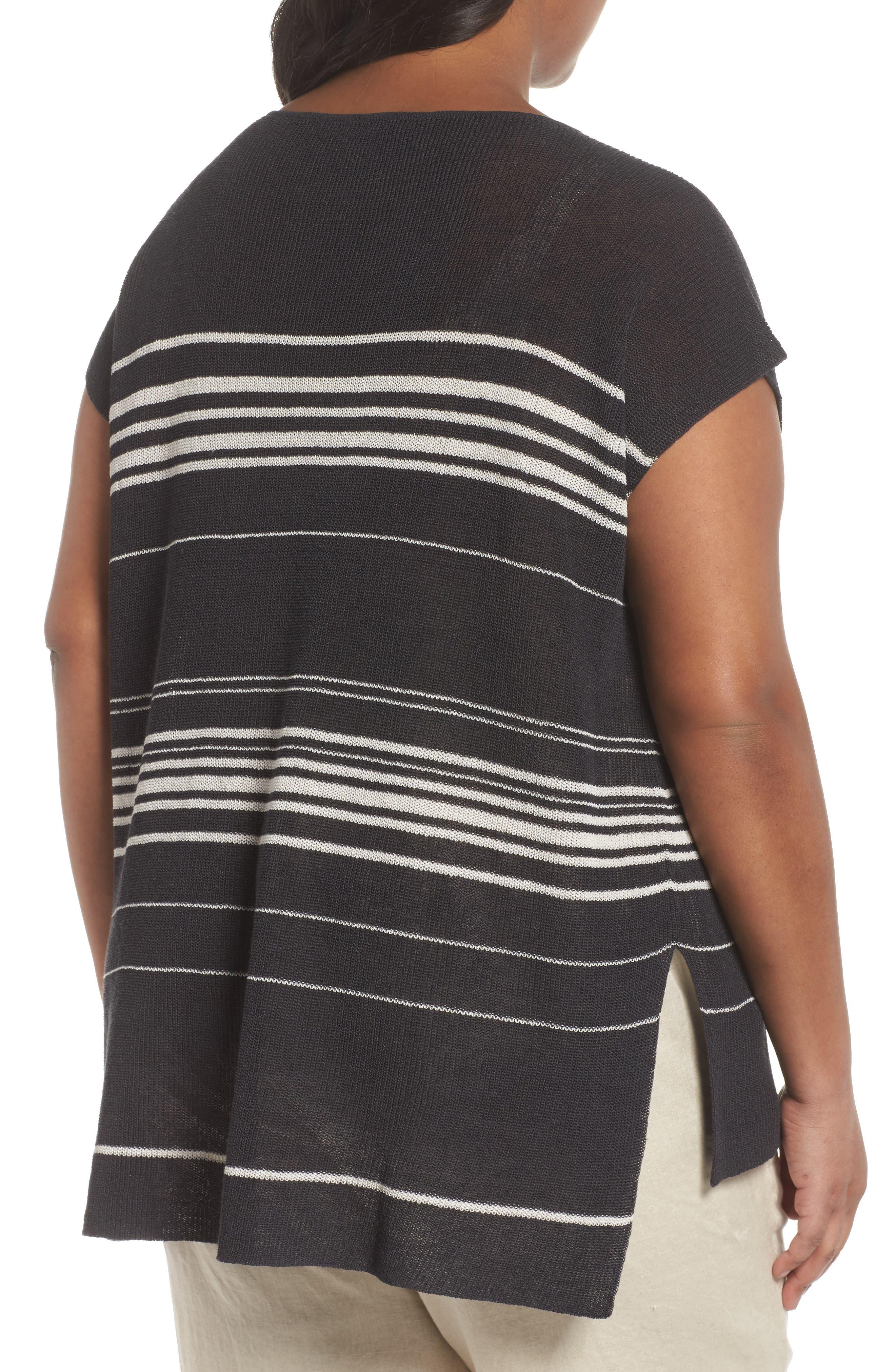 Stripe Organic Linen Blend Poncho,                             Alternate thumbnail 2, color,                             Graphite/ Bone