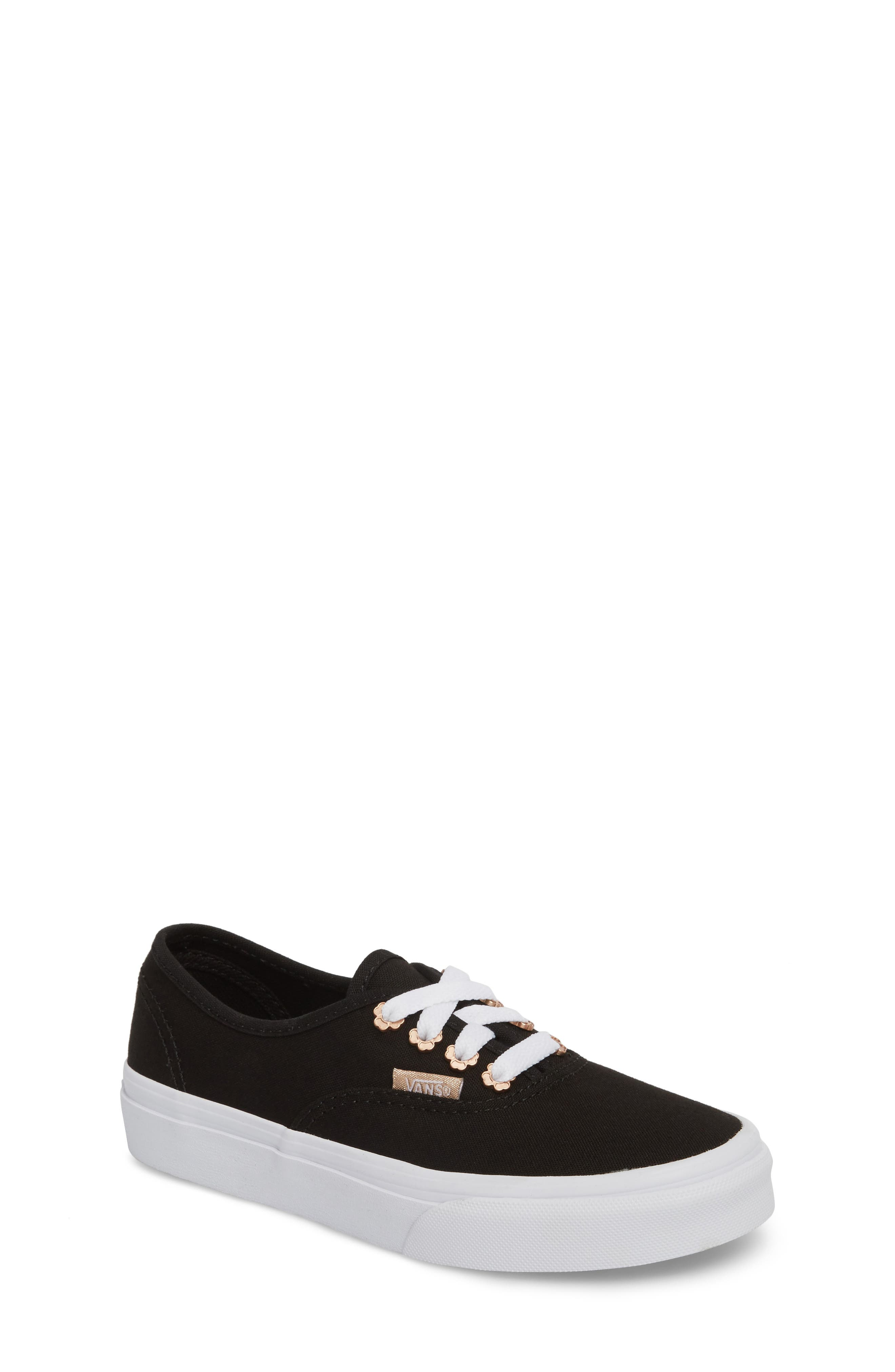 Authentic Sneaker,                         Main,                         color, Black Flower Eyelet