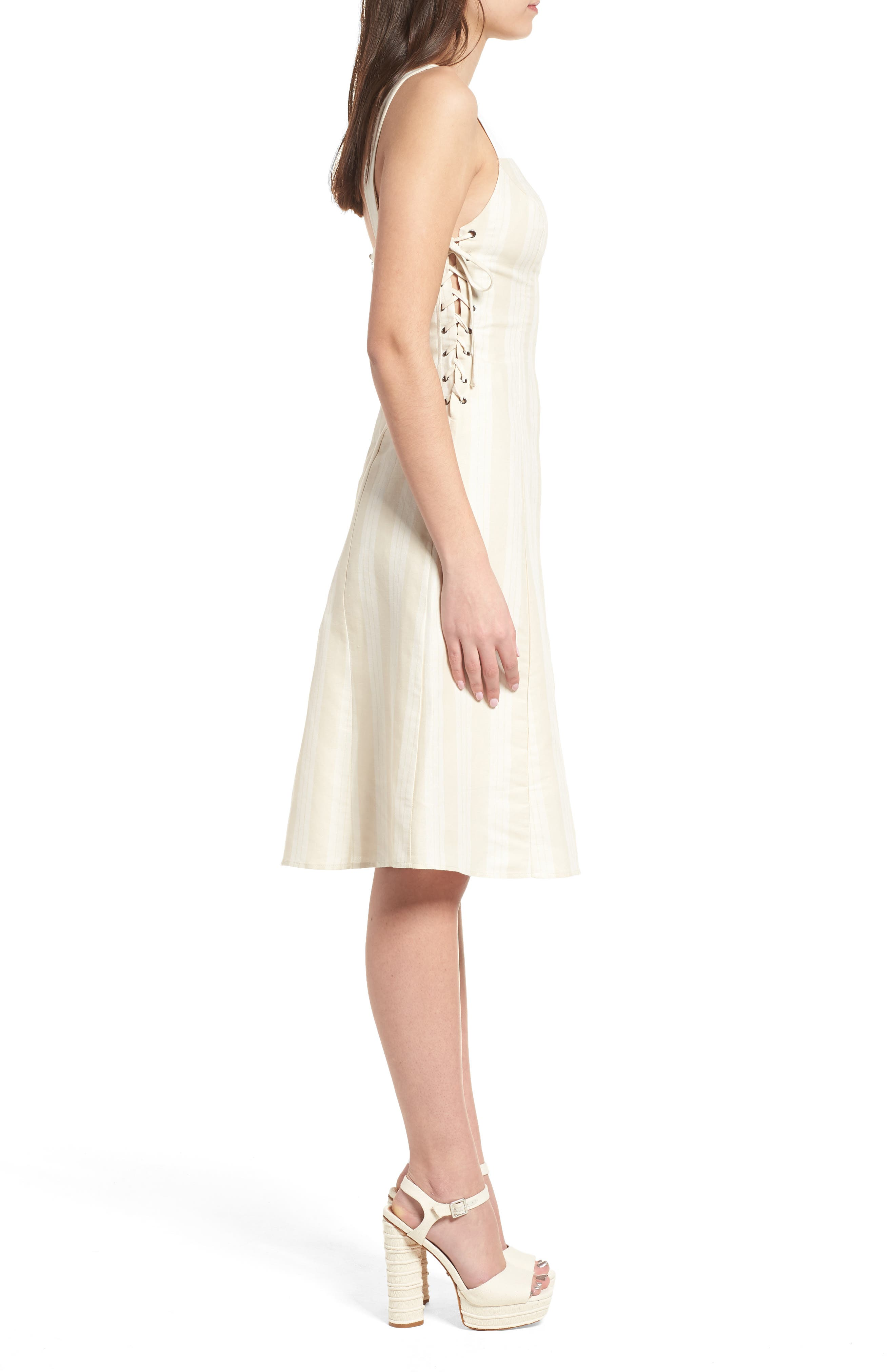 Elena Lace Side Dress,                             Alternate thumbnail 3, color,                             Natural Stripe