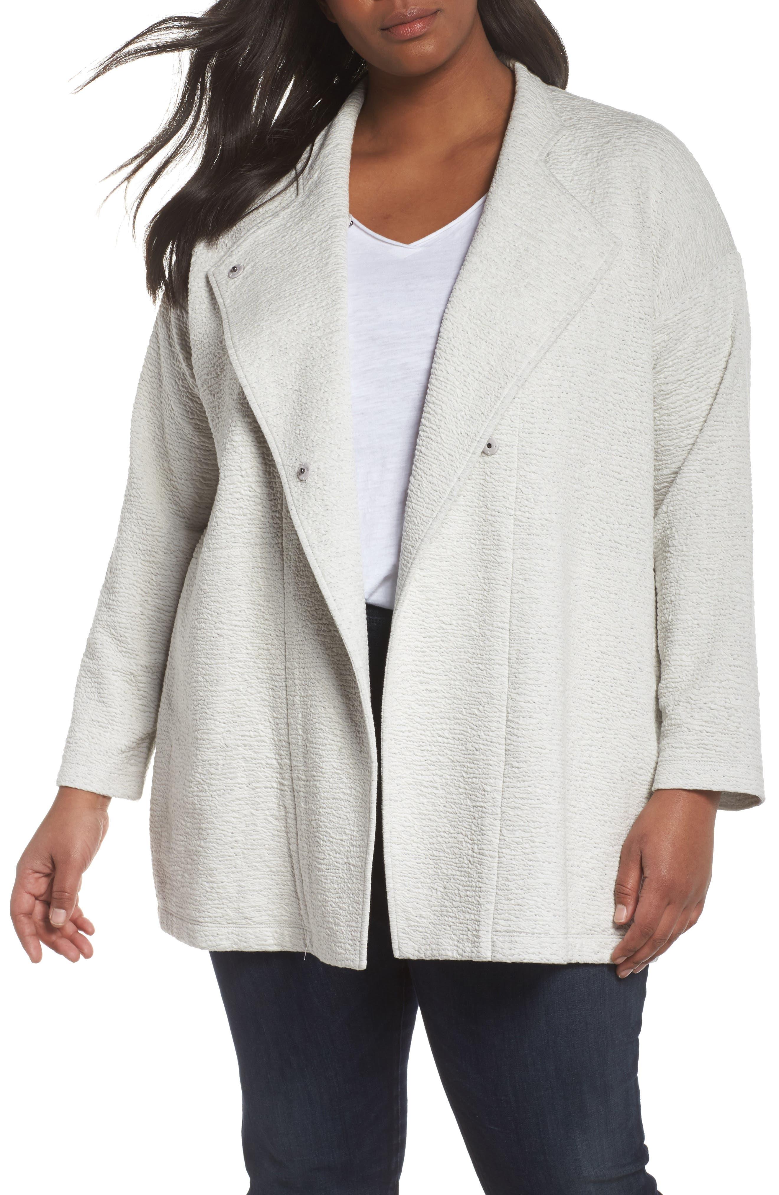 Alternate Image 1 Selected - Eileen Fisher Textured Tencel® Lyocell Kimono Jacket (Plus Size)