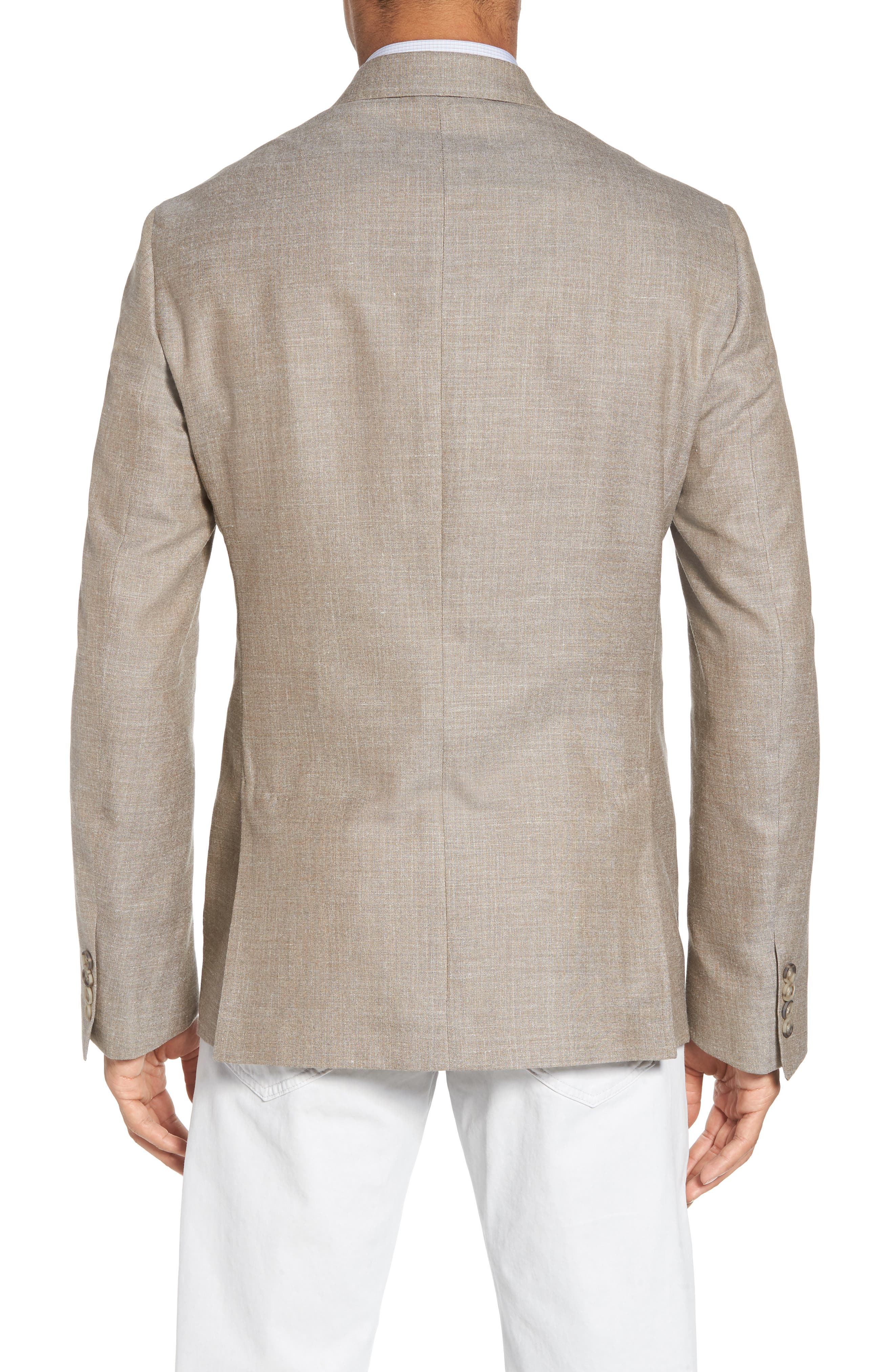Trim Fit Wool Blend Blazer,                             Alternate thumbnail 2, color,                             Tan