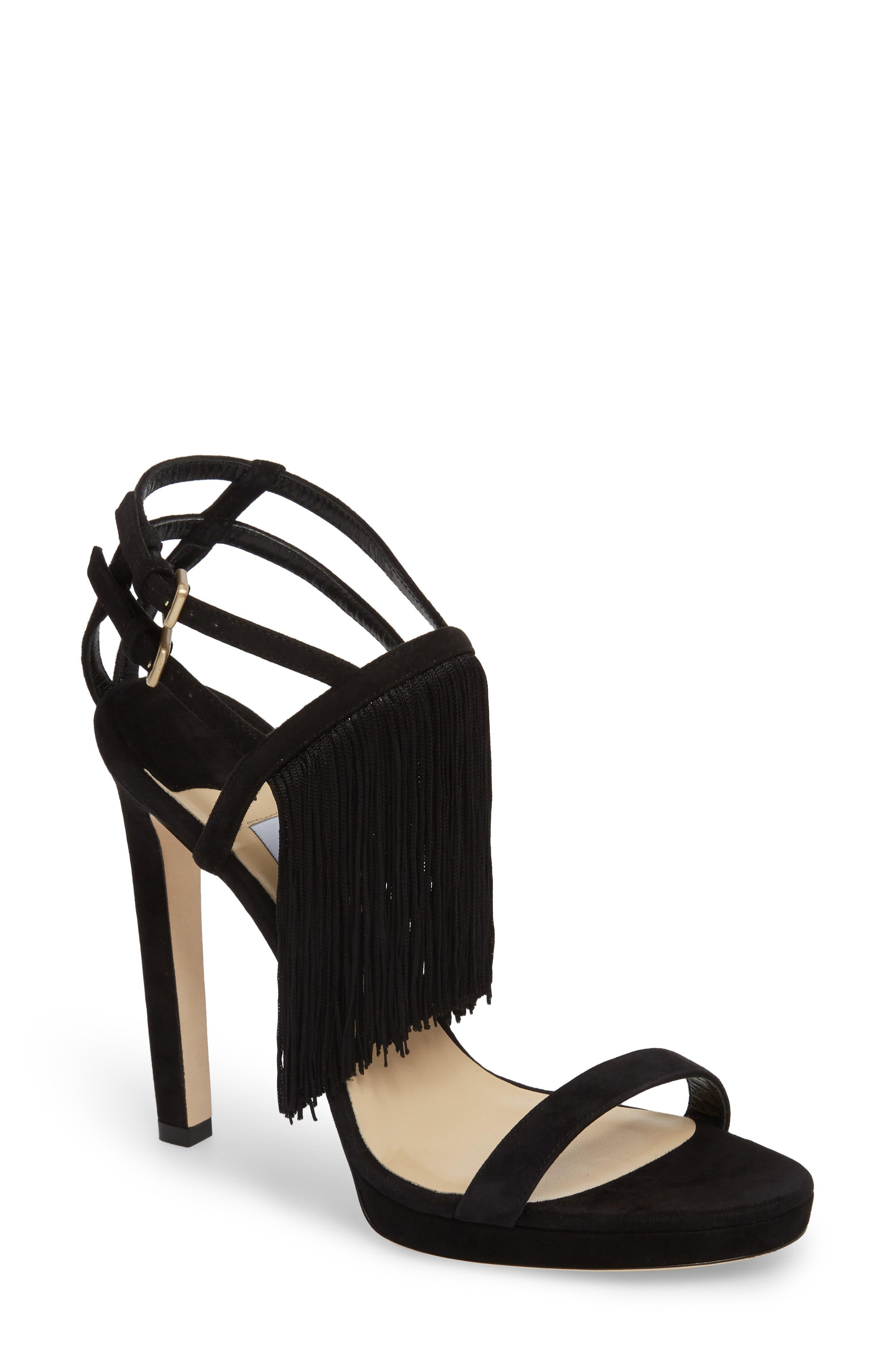 Farrah Fringe Sandal,                         Main,                         color, Black