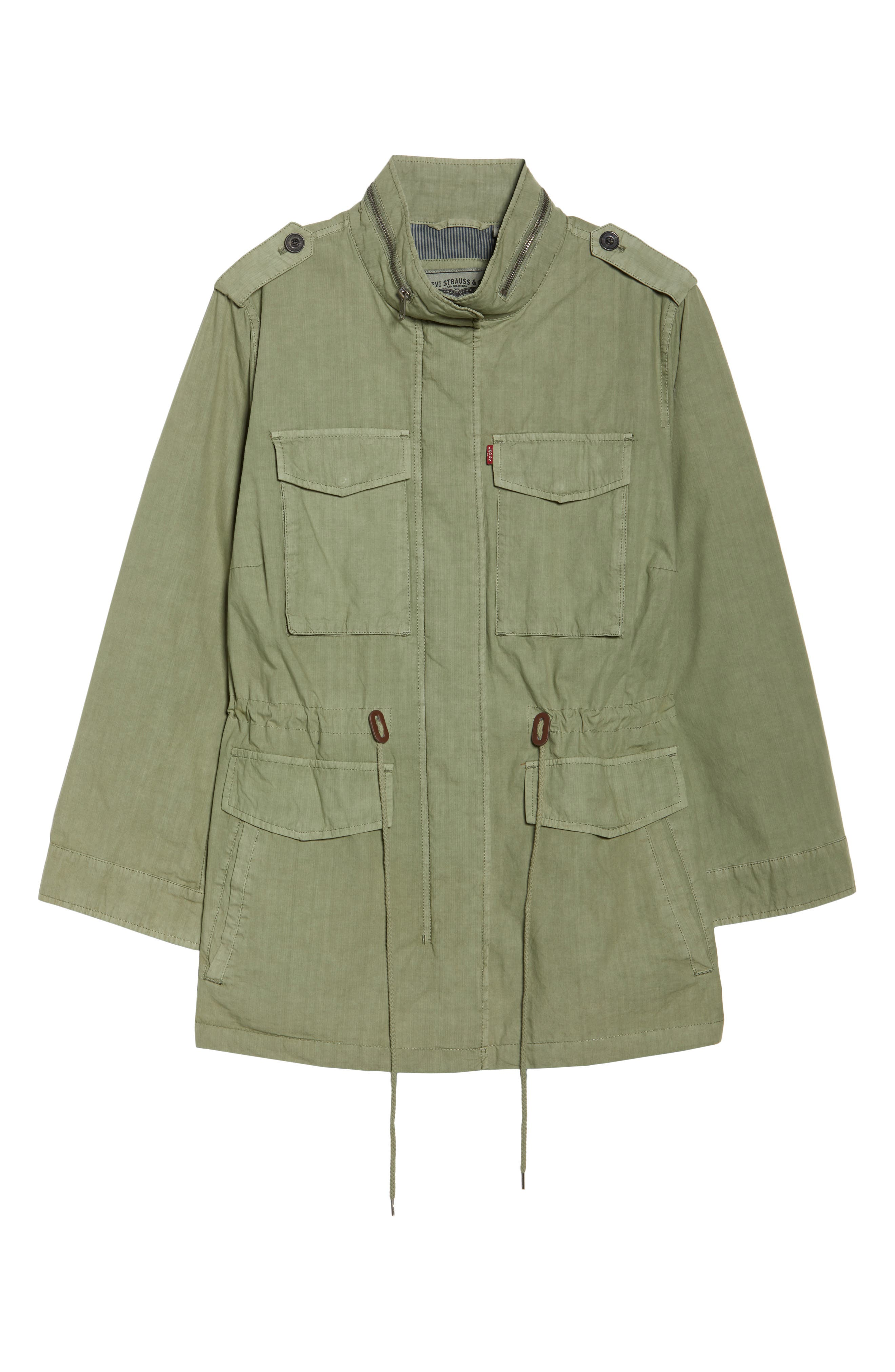 Cotton Military Jacket,                             Alternate thumbnail 6, color,                             Light Green