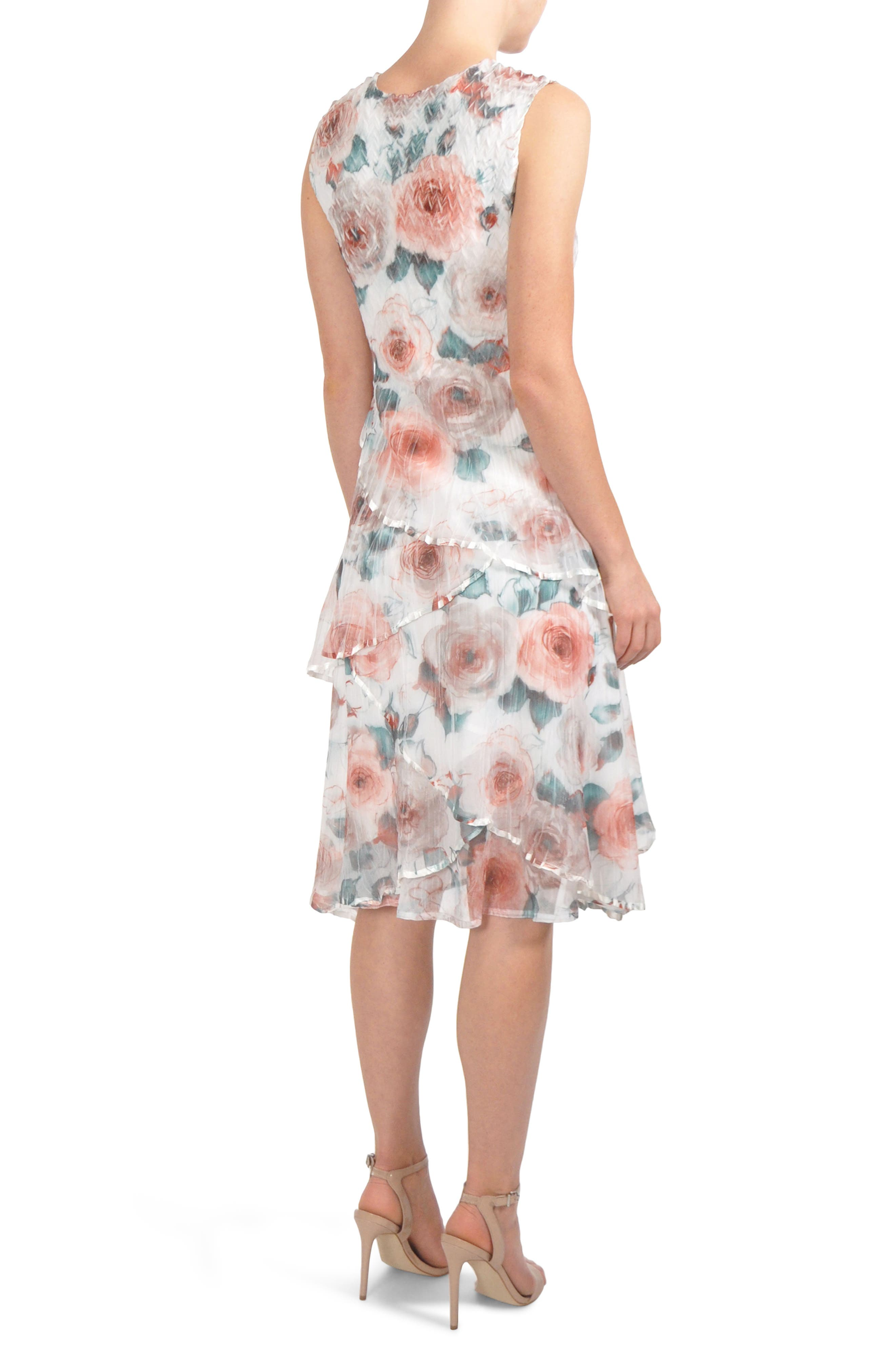 Tiered Chiffon Dress with Wrap,                             Alternate thumbnail 3, color,                             Rose Vine
