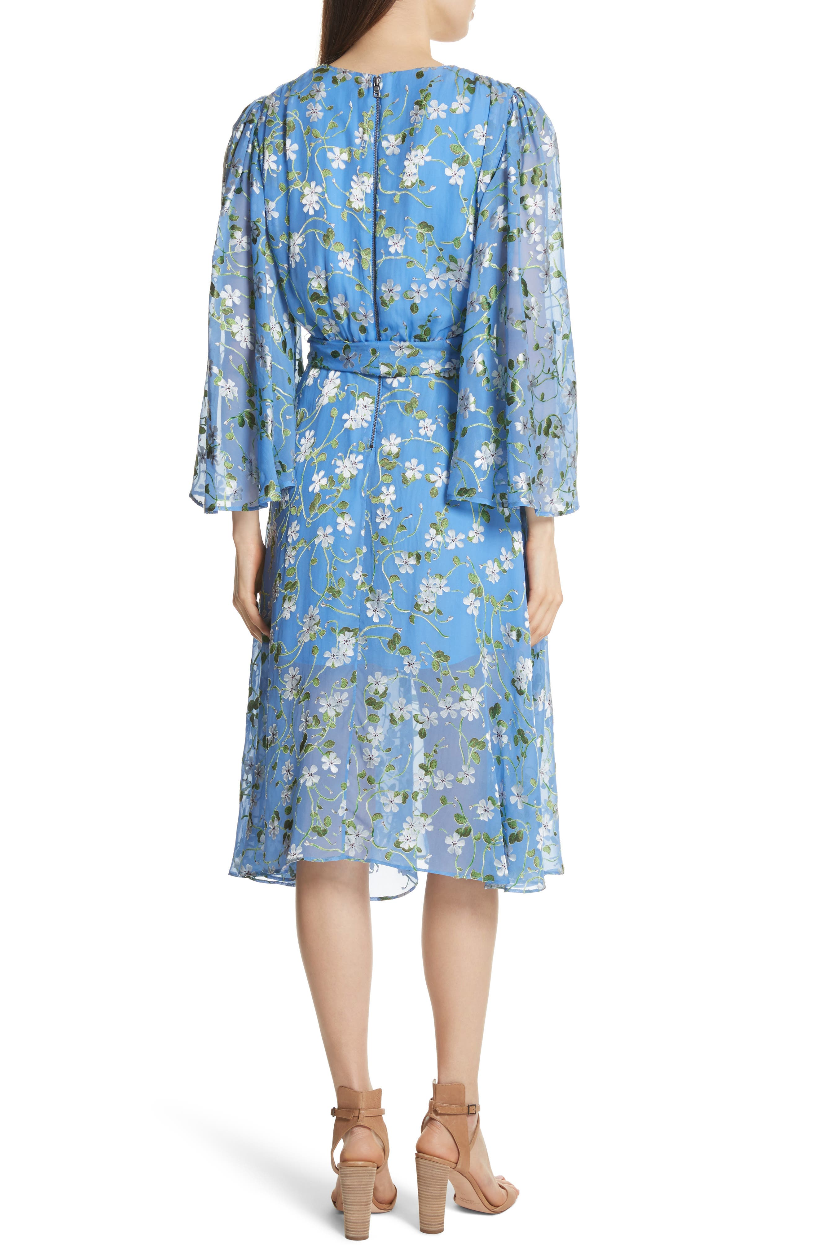 Halsey Bell Sleeve Faux Wrap Dress,                             Alternate thumbnail 2, color,                             Spring Primrose-Cerulean