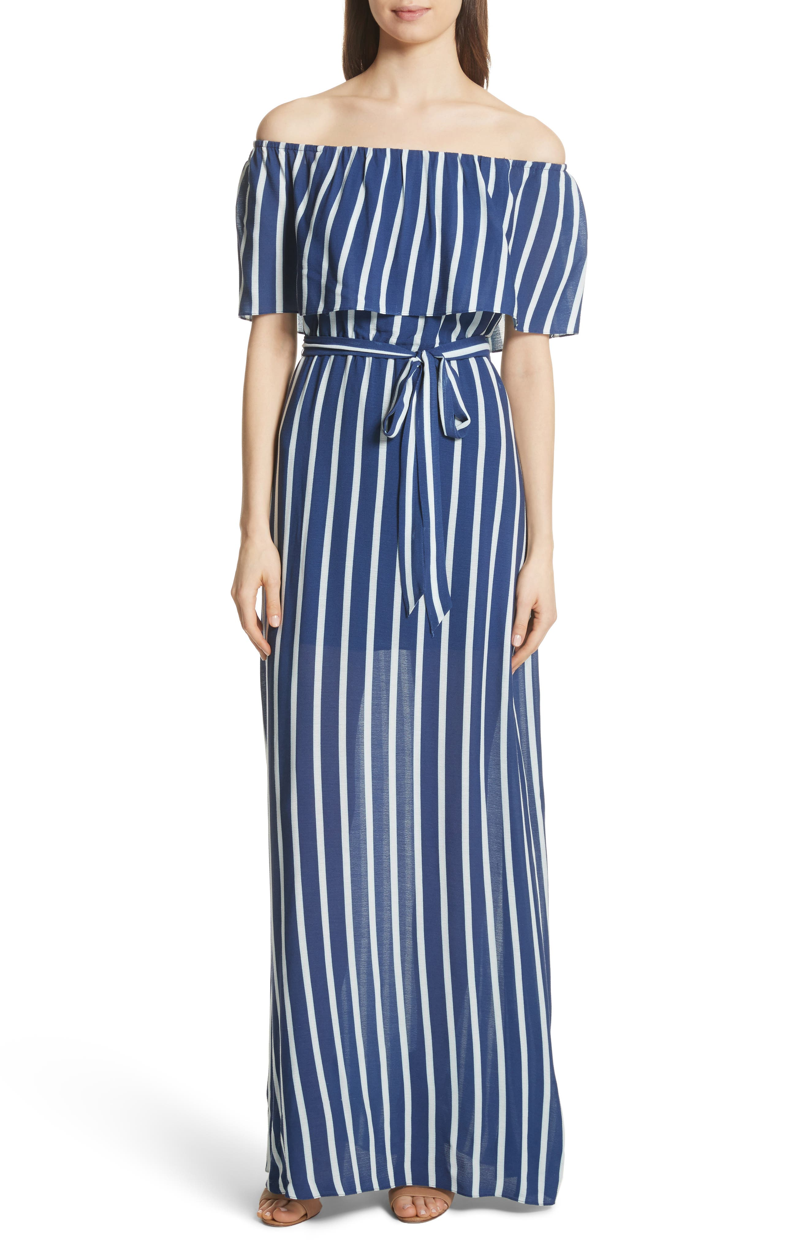 Grazi Off the Shoulder Maxi Dress,                             Main thumbnail 1, color,                             Oasis Stripe