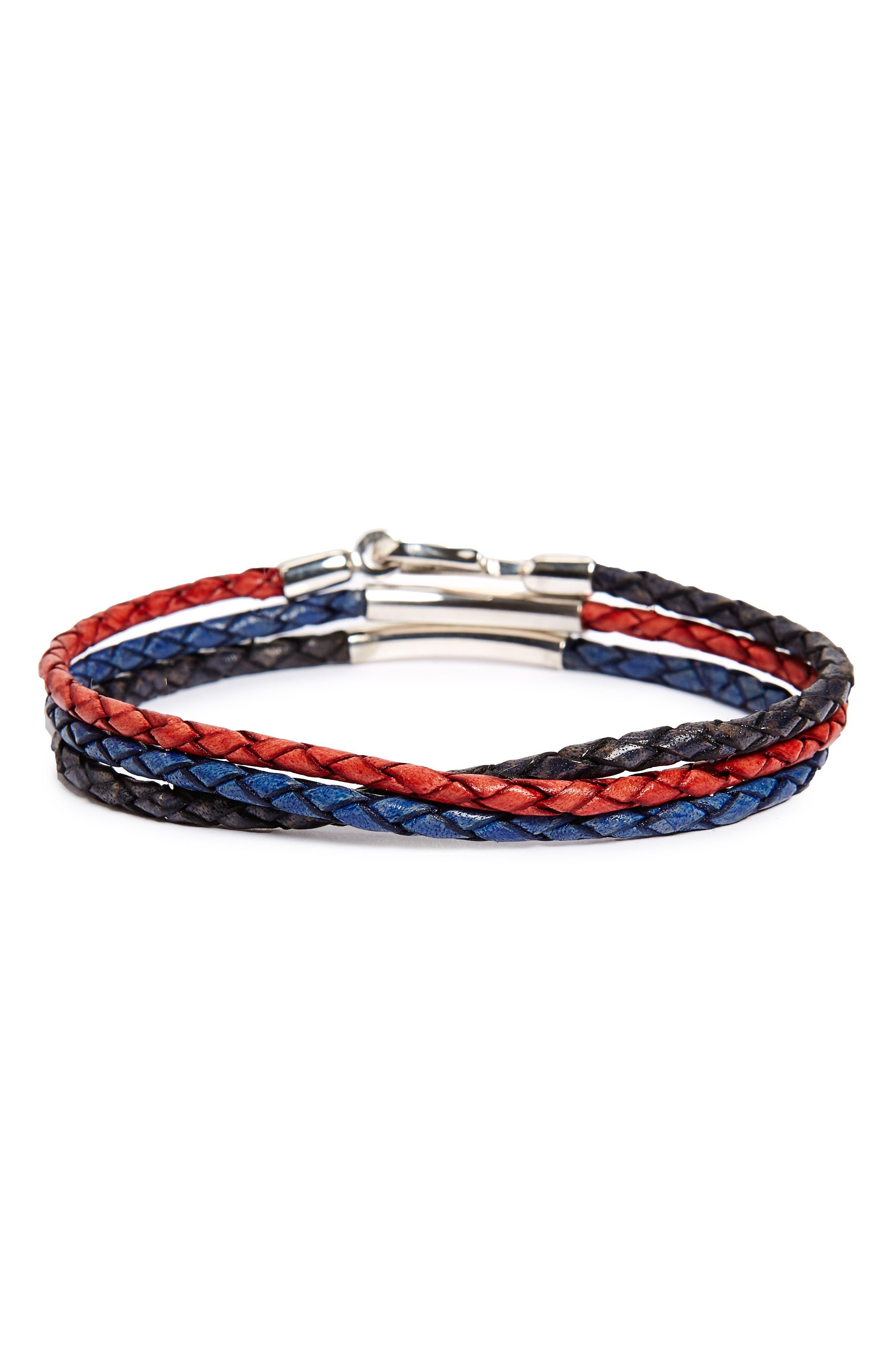 Alternate Image 1 Selected - Caputo & Co. Braided Leather Wrap Bracelet