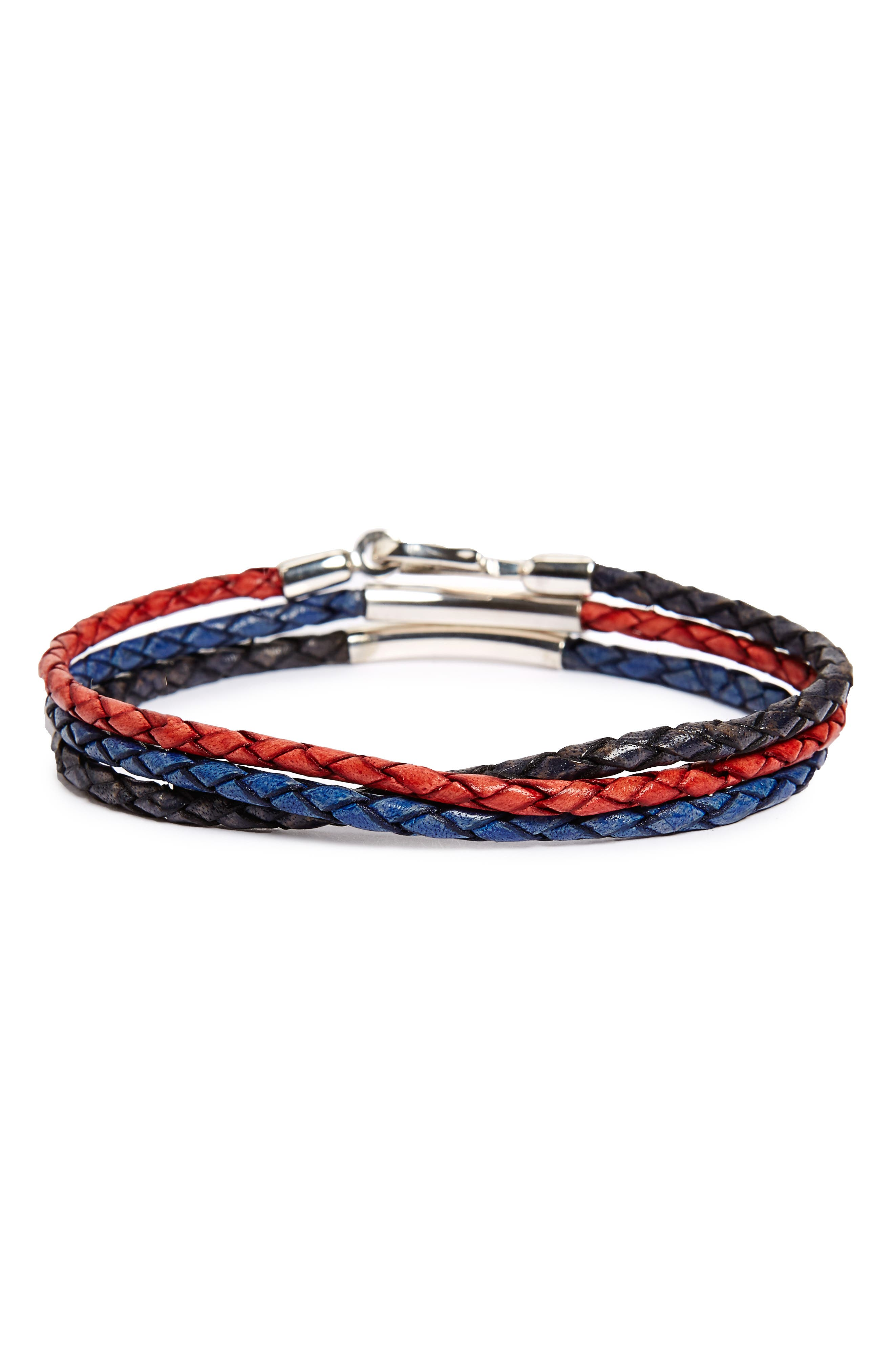 Main Image - Caputo & Co. Braided Leather Wrap Bracelet
