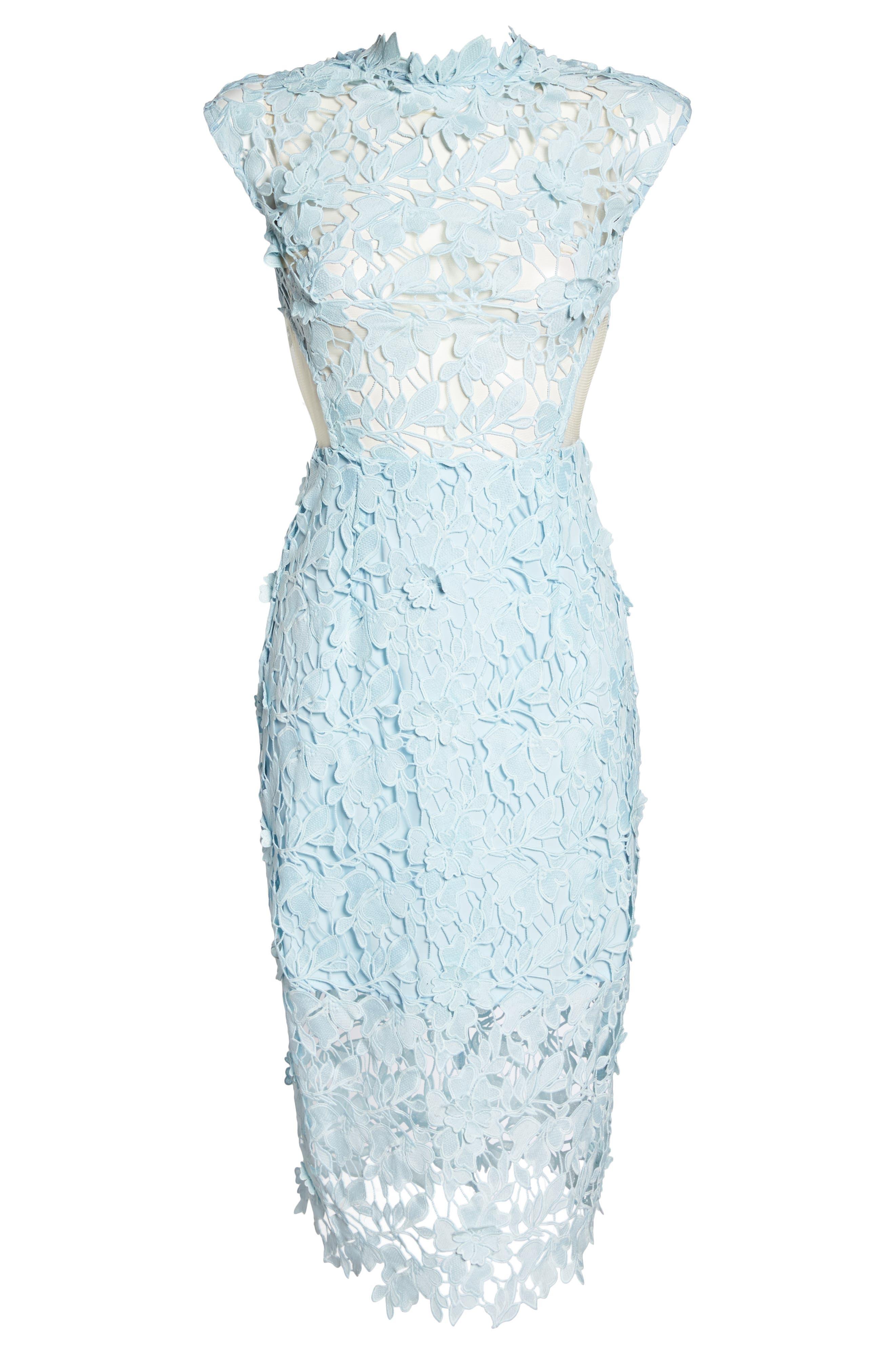 Lidia Lace Midi Dress,                             Alternate thumbnail 6, color,                             Blue