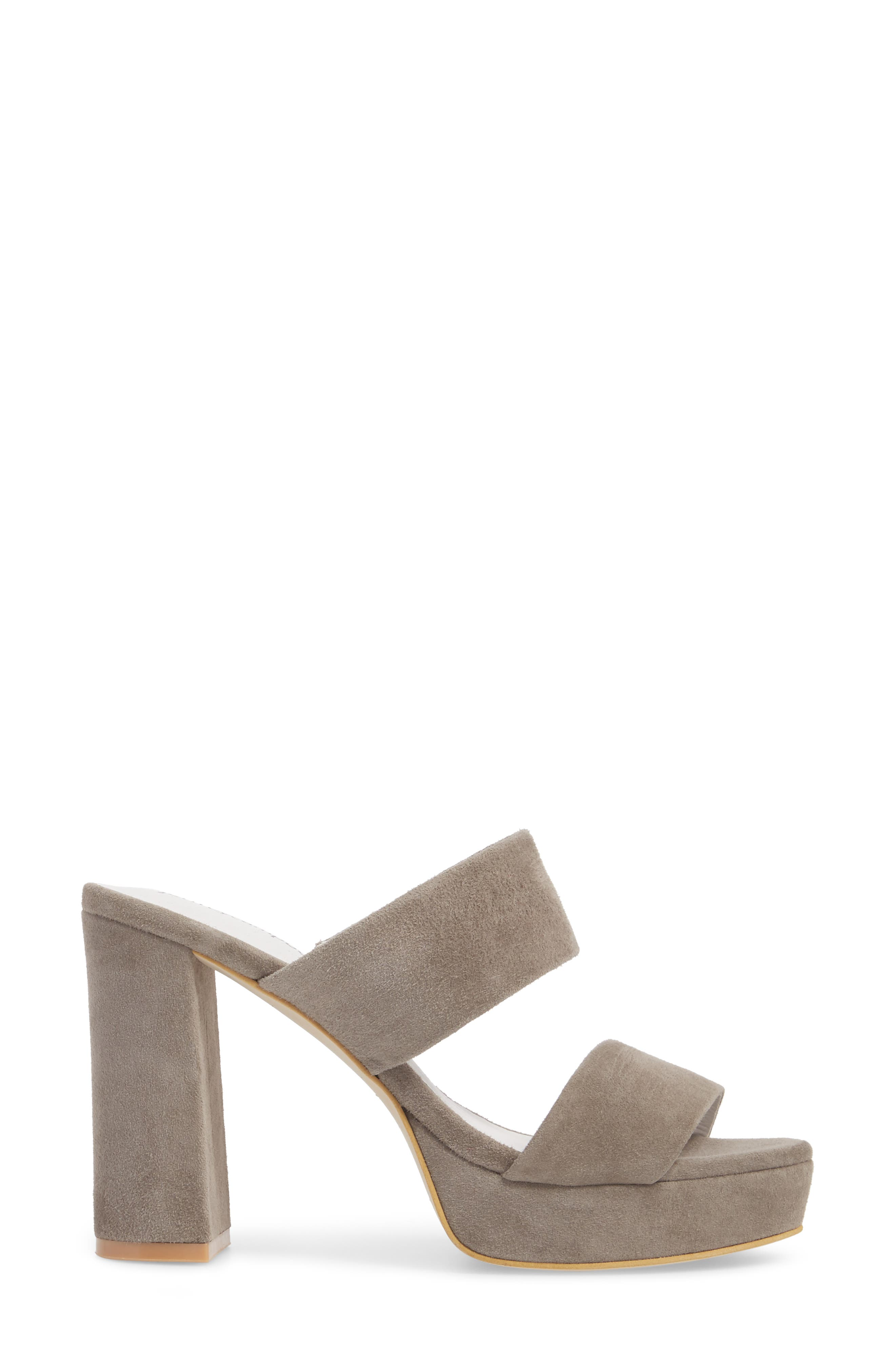 Adriana Double Band Platform Sandal,                             Alternate thumbnail 3, color,                             Grey Suede