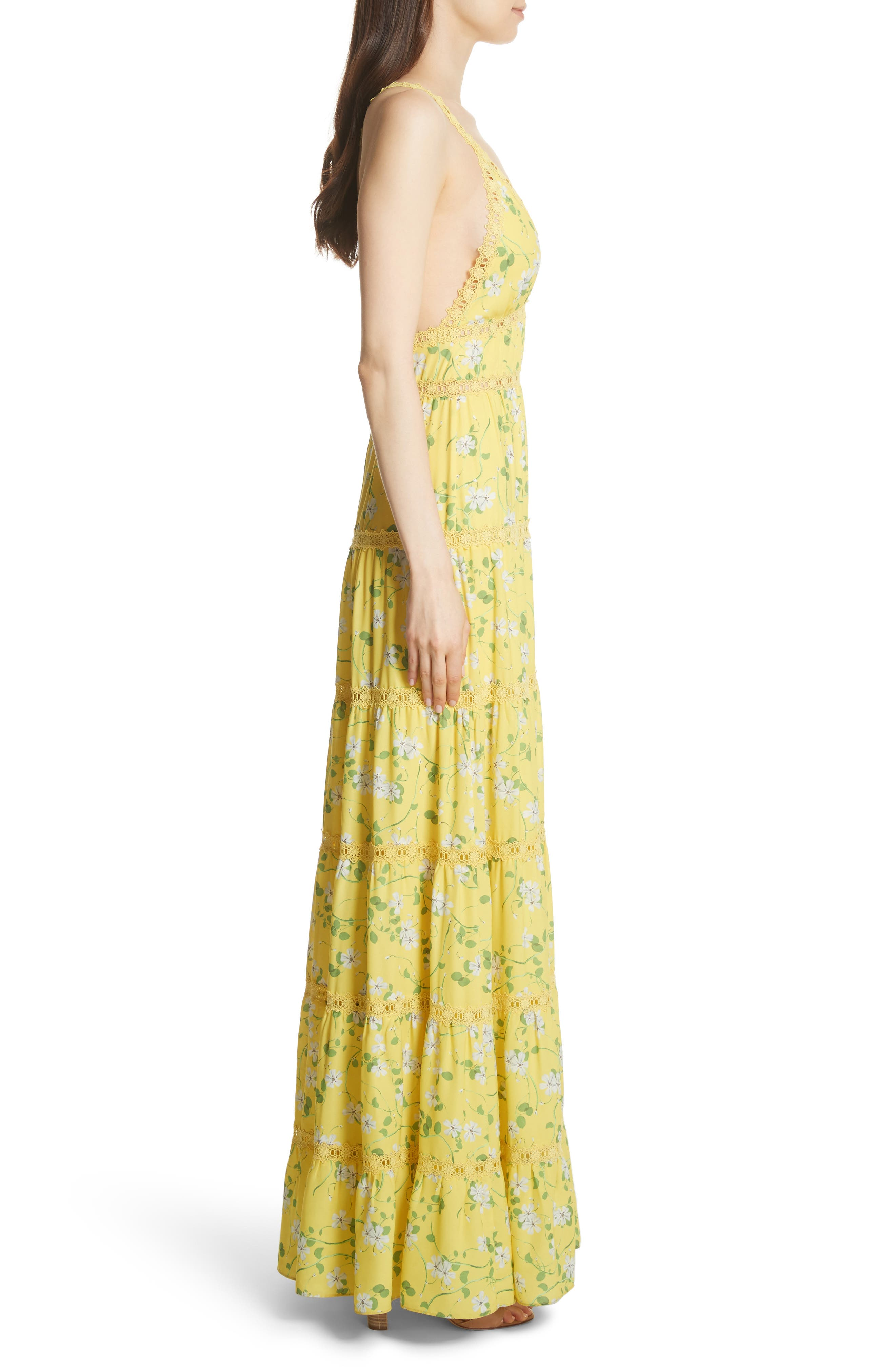 Karolina Print Maxi Dress,                             Alternate thumbnail 3, color,                             Spring Primrose-Lemon