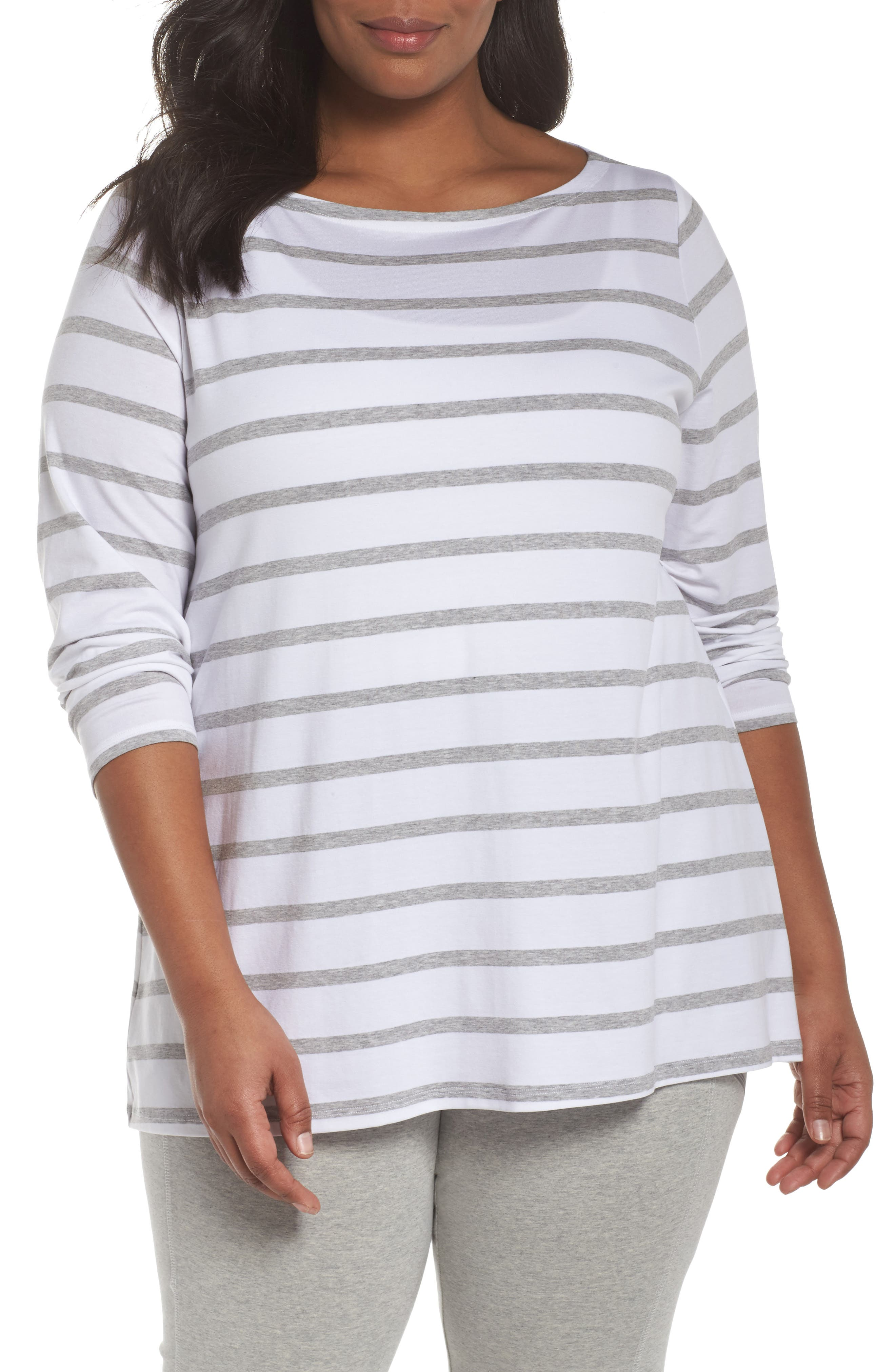 Stripe Stretch Tencel<sup>®</sup> Lyocell Top,                             Main thumbnail 1, color,                             White/ Dark Pearl