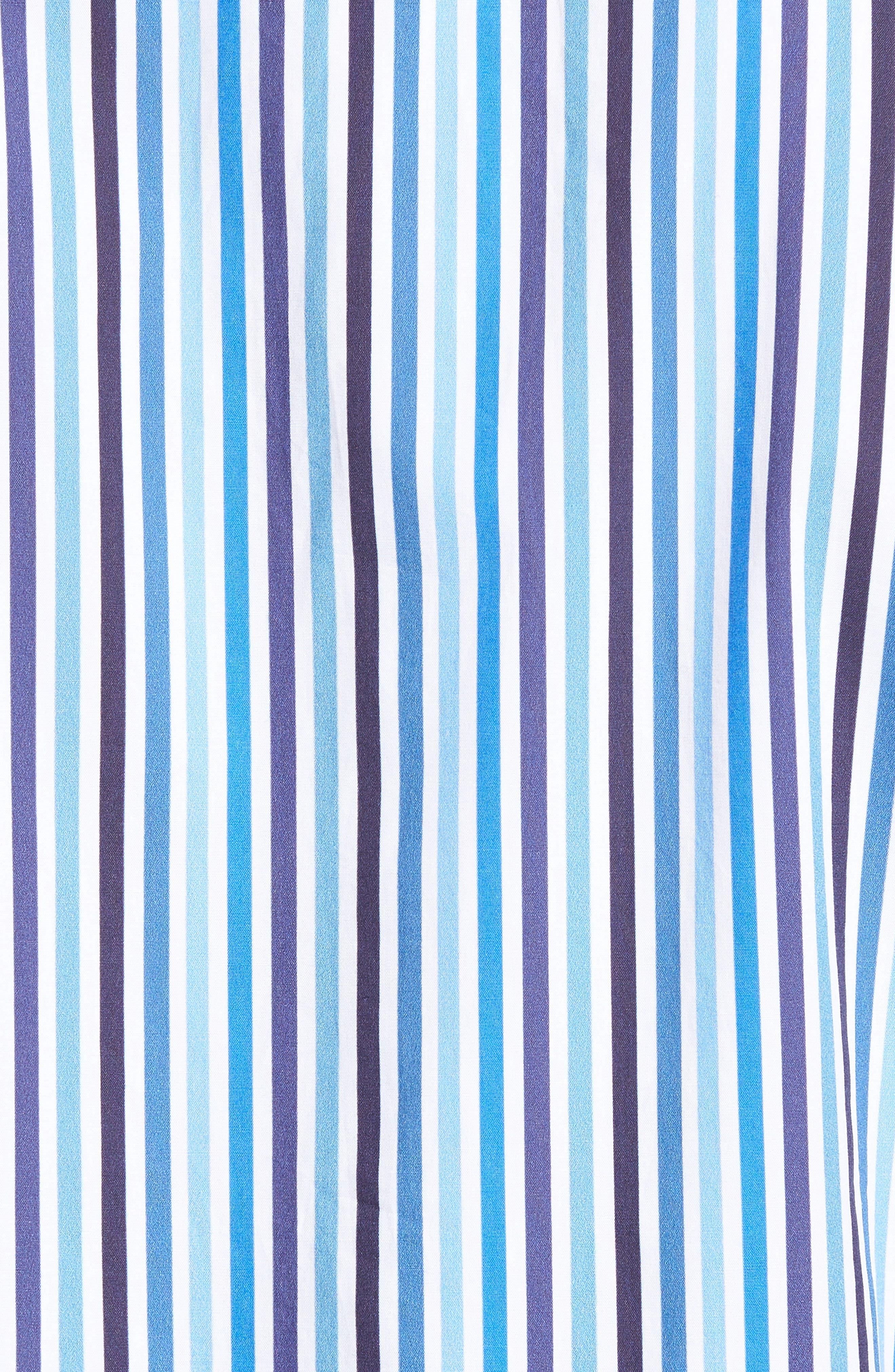 Shaped Fit Candy Stripe Sport Shirt,                             Alternate thumbnail 5, color,                             Classic Blue