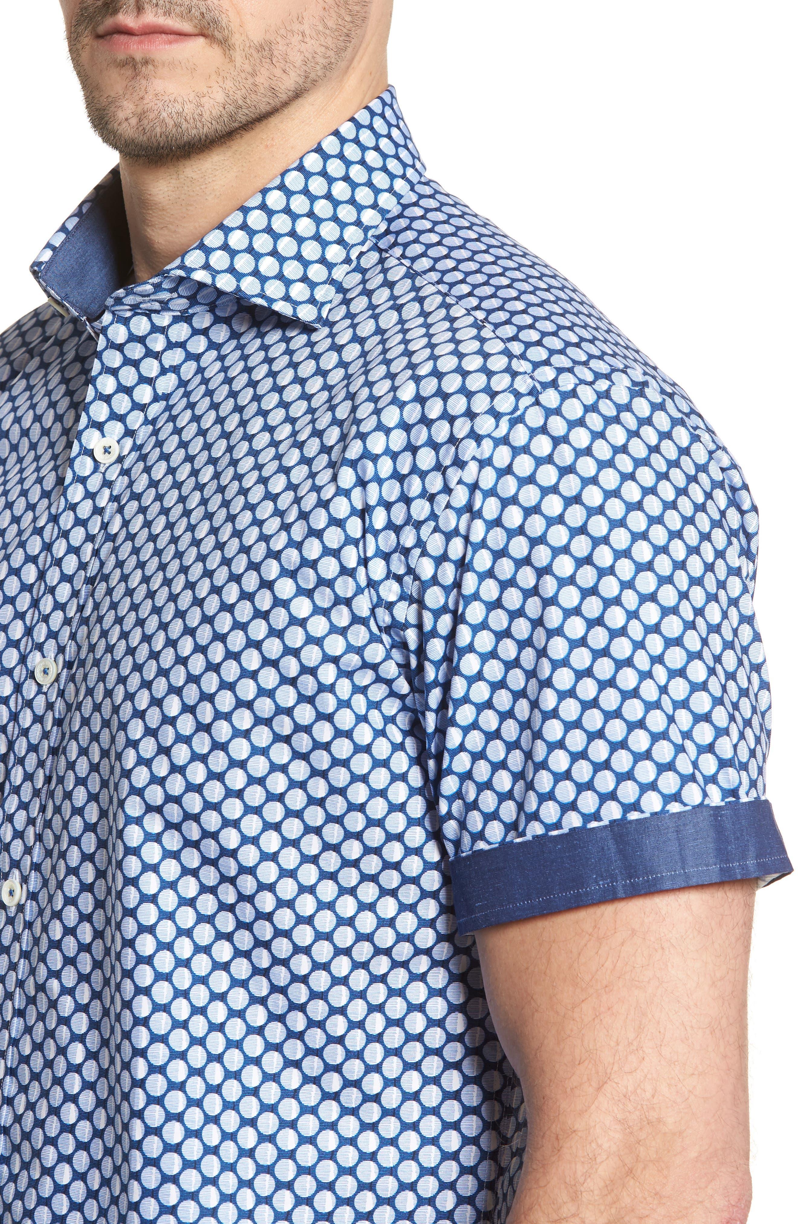 Shaped Fit Polka Dot Sport Shirt,                             Alternate thumbnail 4, color,                             Classic Blue