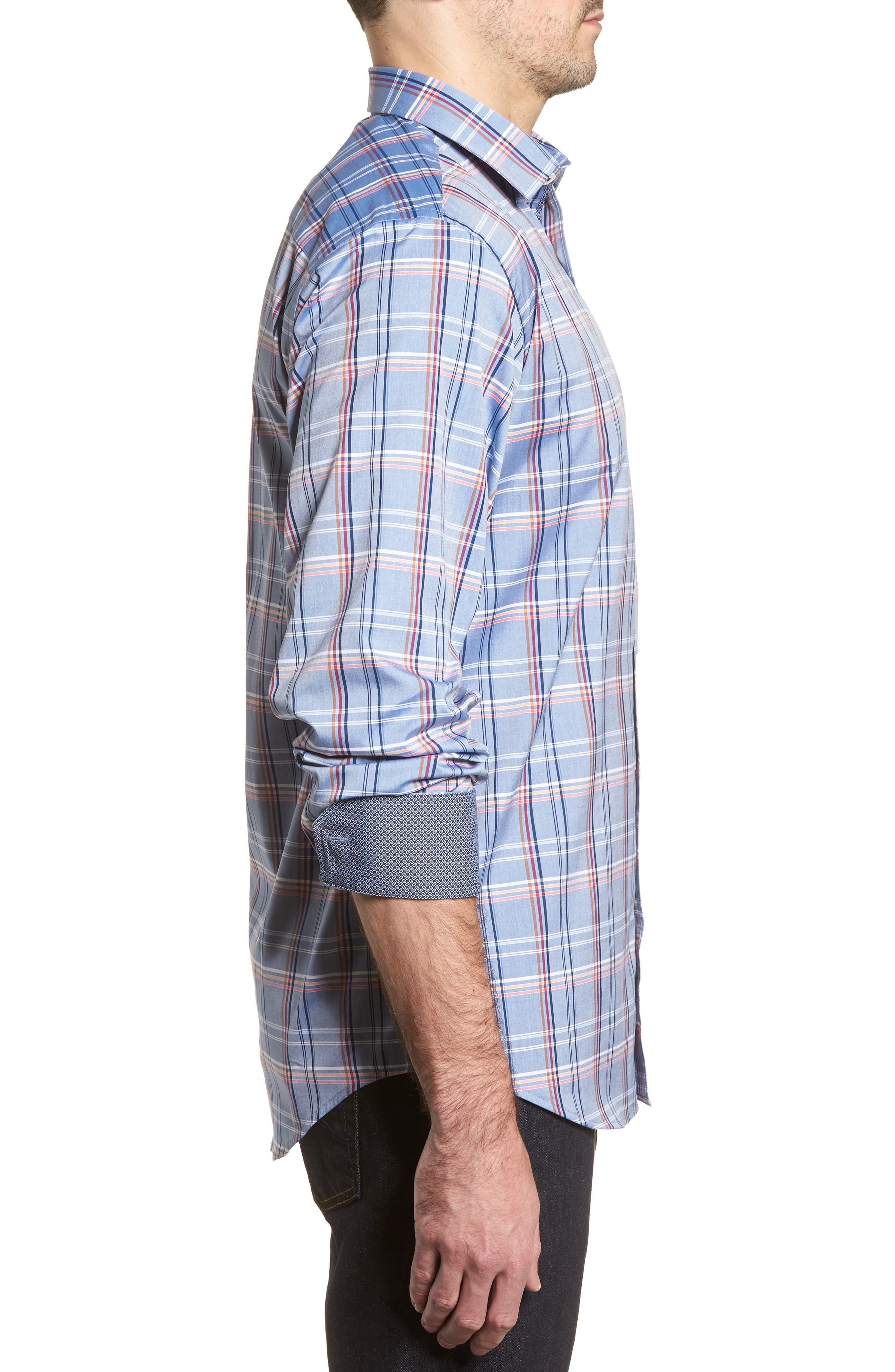 Classic Fit Urban Plaid Sport Shirt,                             Alternate thumbnail 3, color,                             Steel