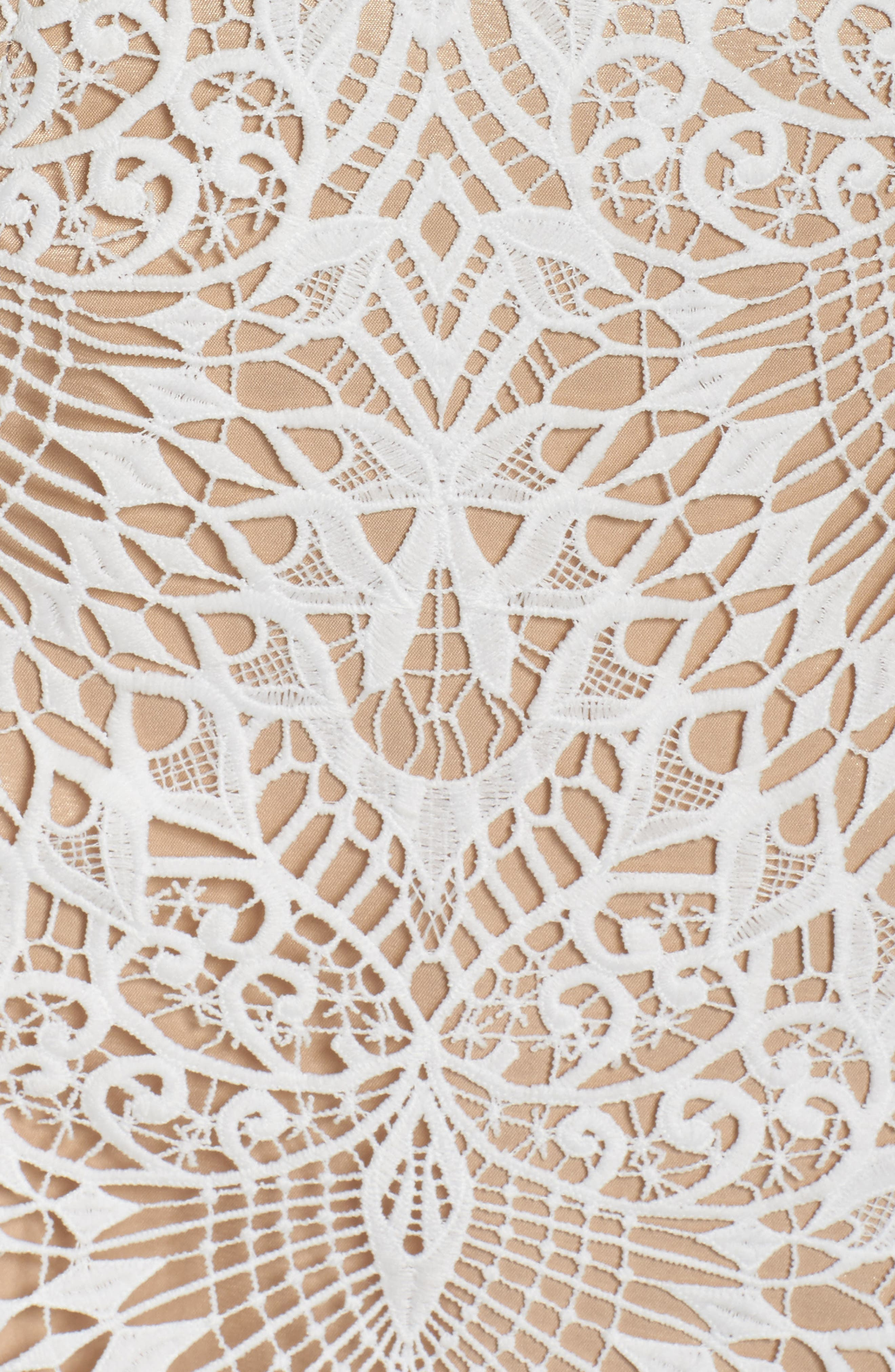 Calypso Lace Sheath Dress,                             Alternate thumbnail 5, color,                             Ivory Nude