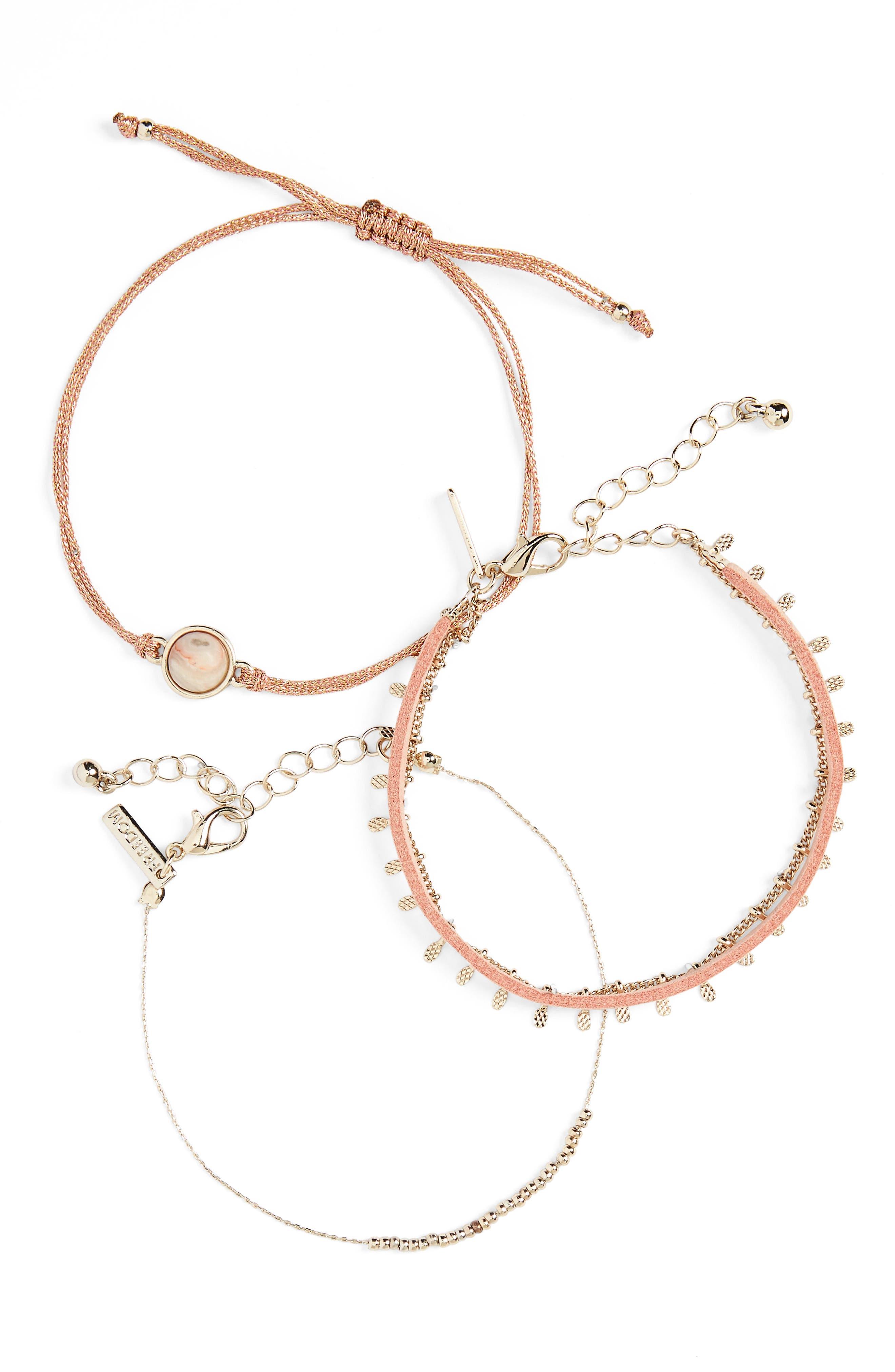 Pack of 3 Glitter Bracelets,                         Main,                         color, Pastel Pink