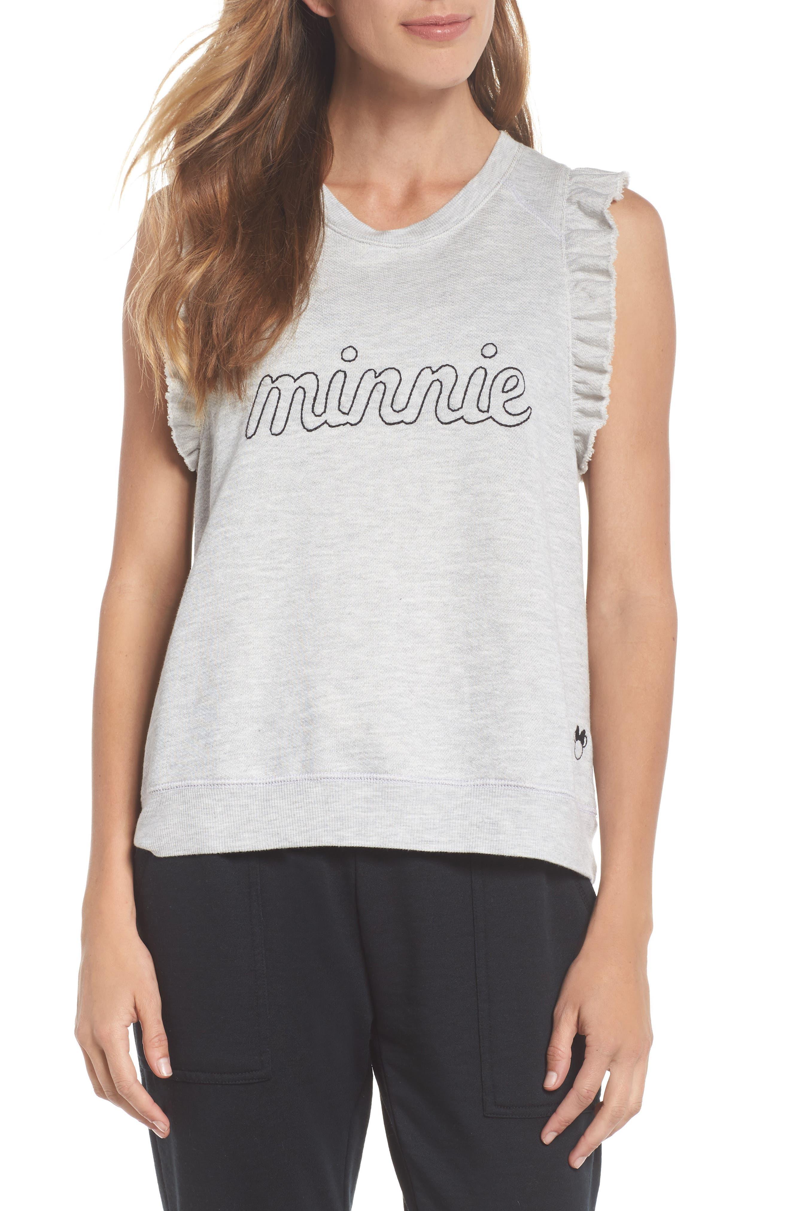 Minnie Ruffle Tank,                         Main,                         color, Heather Grey