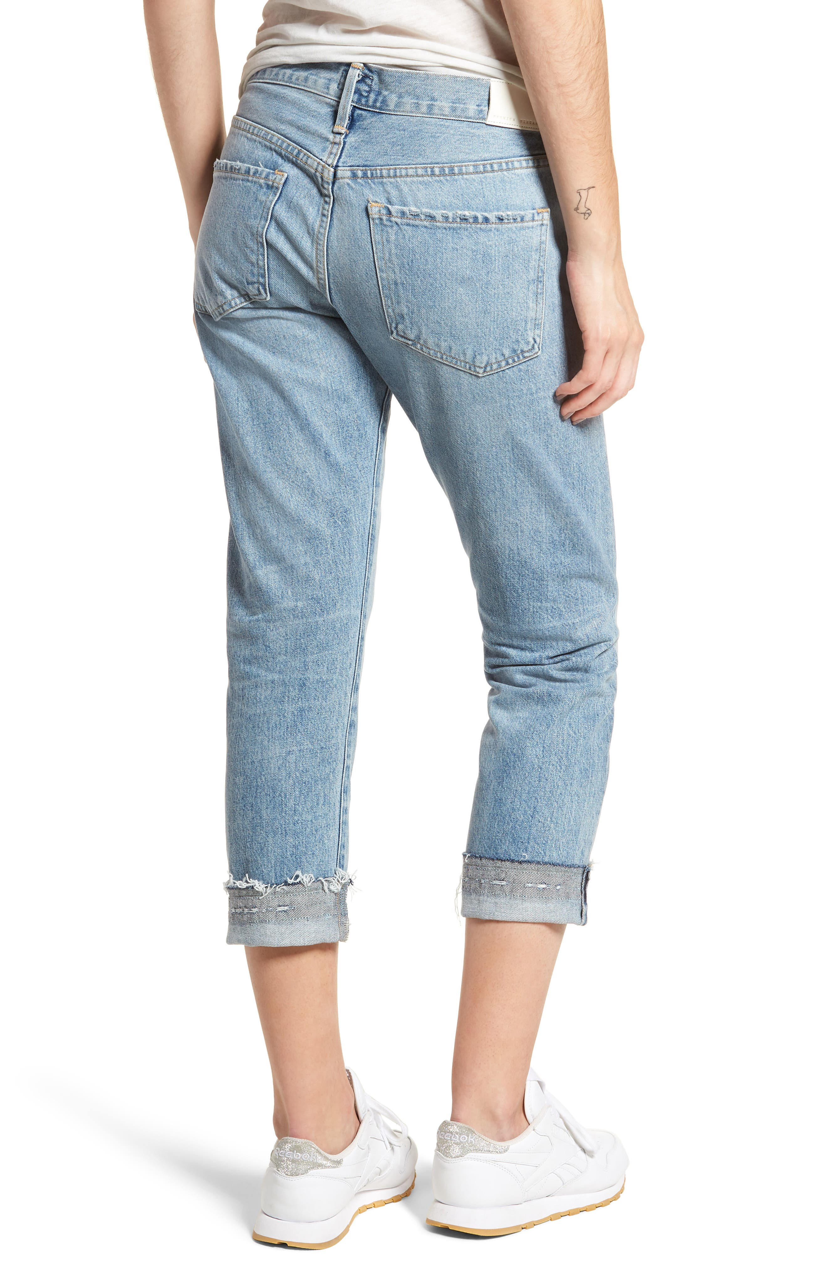 Emerson Crop Slim Fit Boyfriend Jeans,                             Alternate thumbnail 2, color,                             Stax