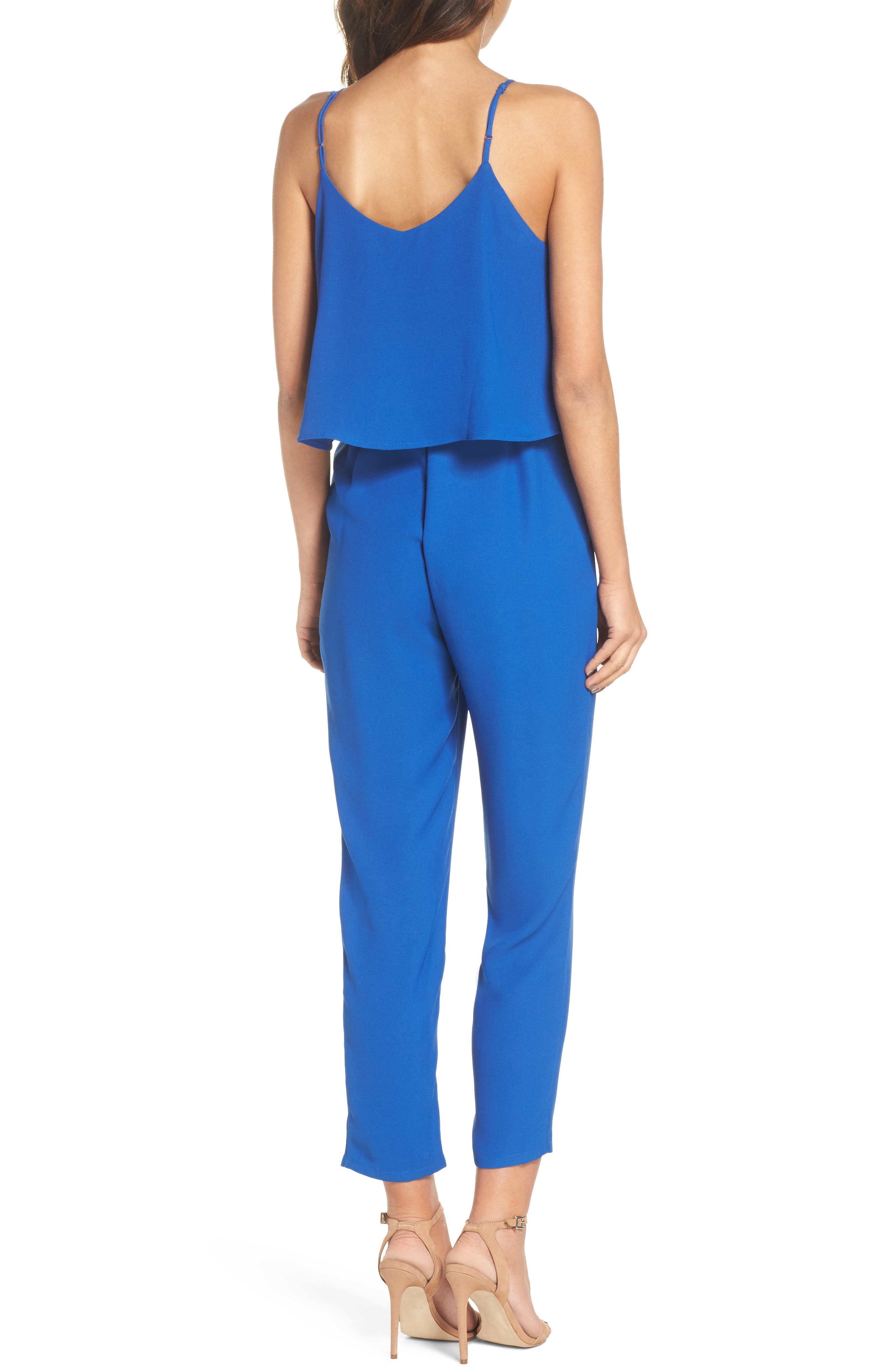 Deep V-Neck Sleeveless Jumpsuit,                             Alternate thumbnail 2, color,                             Cobalt